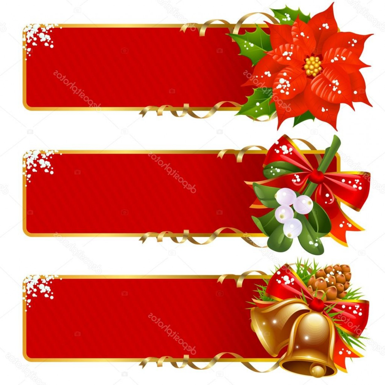 Christmas Horizontal Vector: Stock Illustration Christmas Horizontal Background Set
