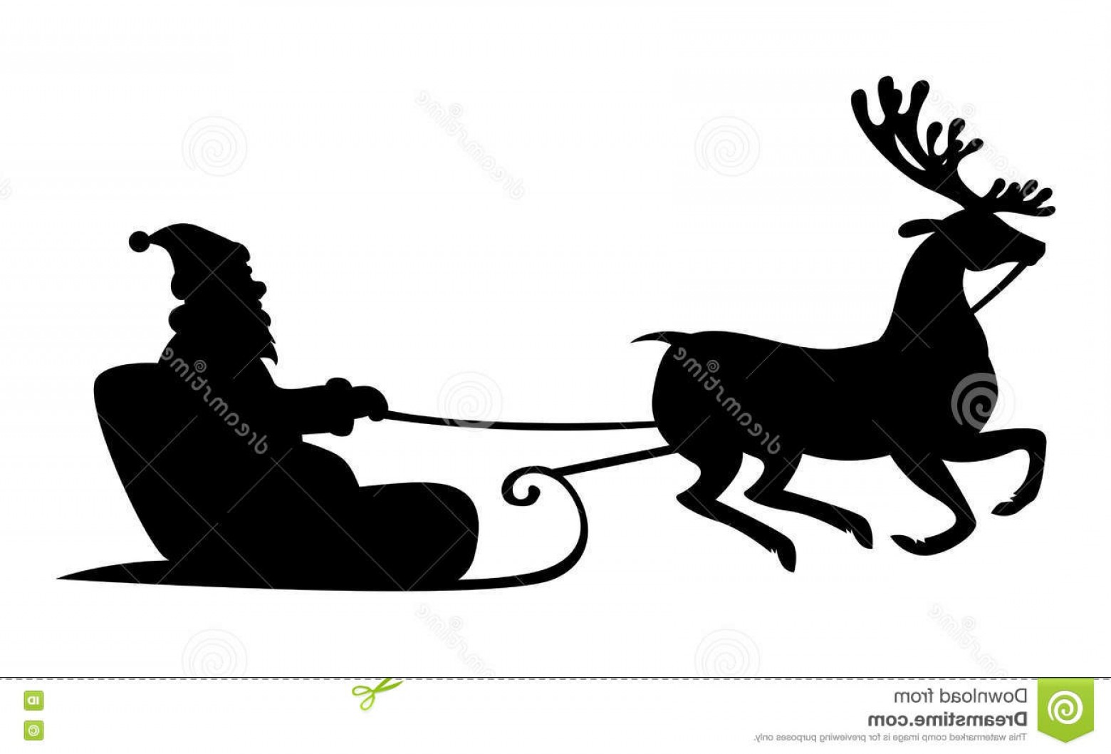 Black Santa Sleigh Vector: Stock Illustration Christmas Silhouette Santa Claus Riding Reindeer Sleigh Vector Illustrations Isolated White Background Image