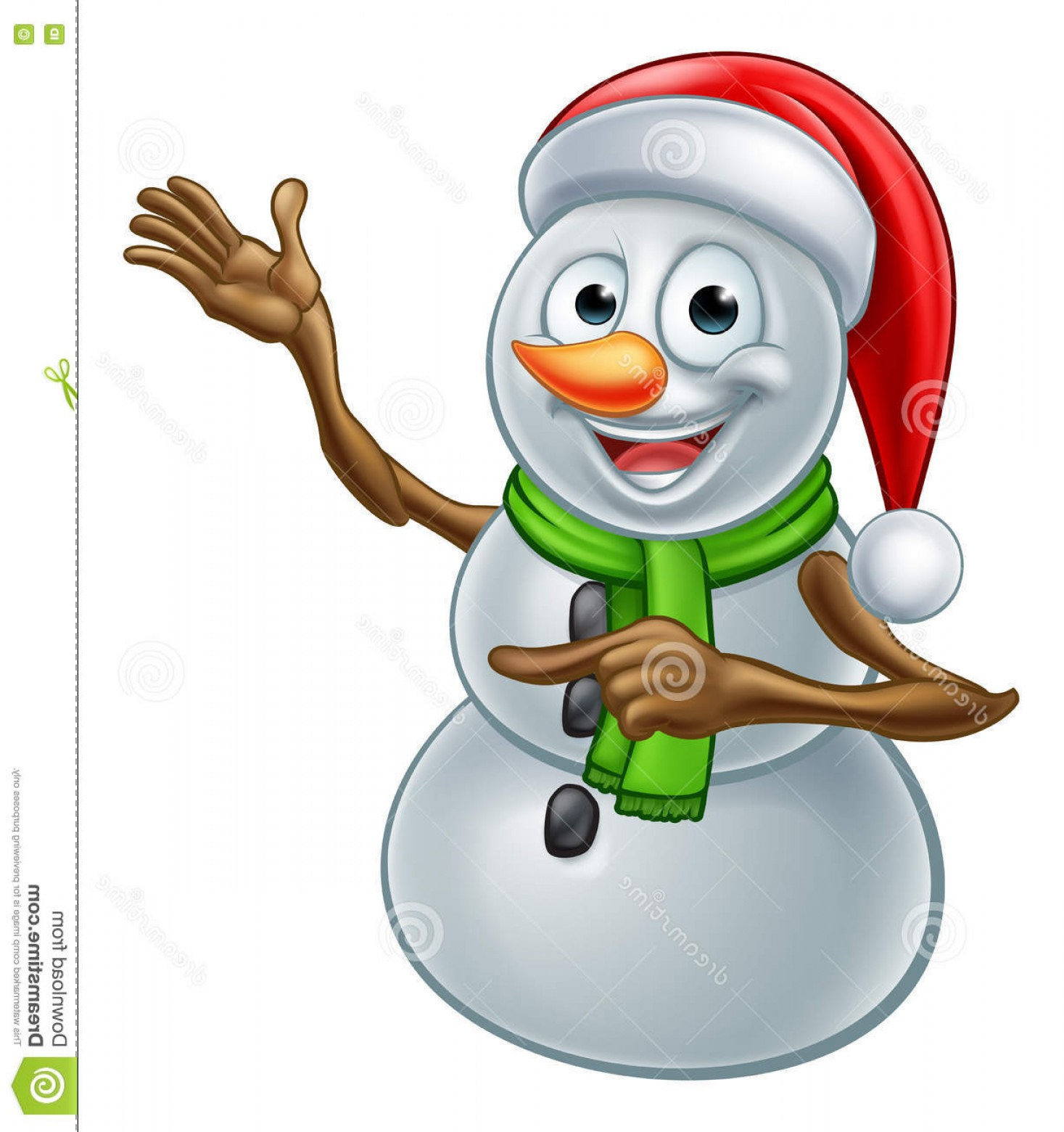 No Hat With Snowman Vector: Stock Illustration Christmas Snowman Cartoon Santa Hat Character Pointing Happy Image