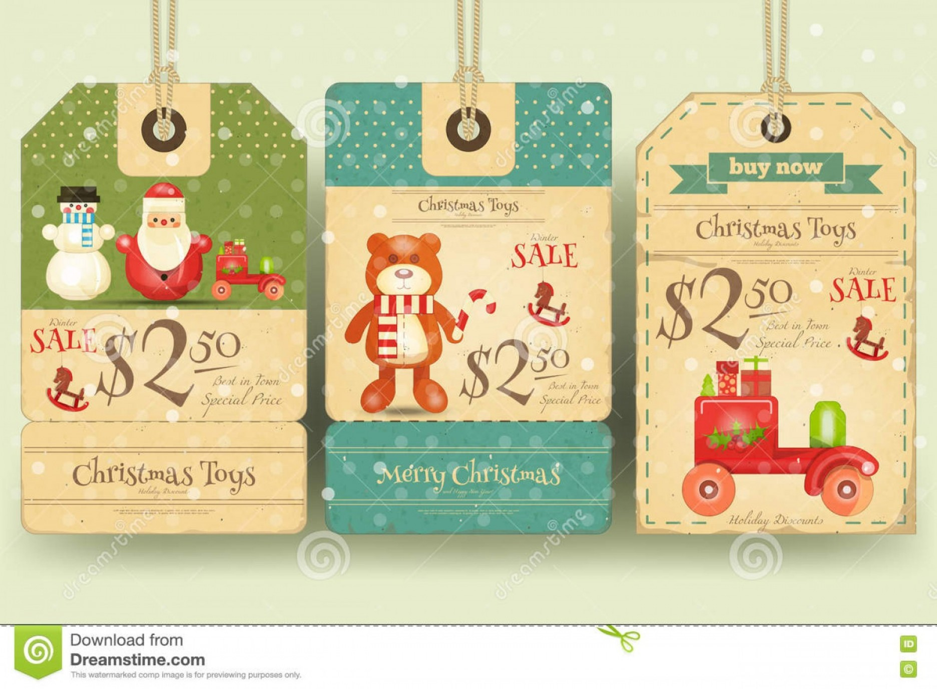 Vintage Xmas Sale Tag Vector: Stock Illustration Christmas Toys Sale Tags Retro Style Vector Illustration Image