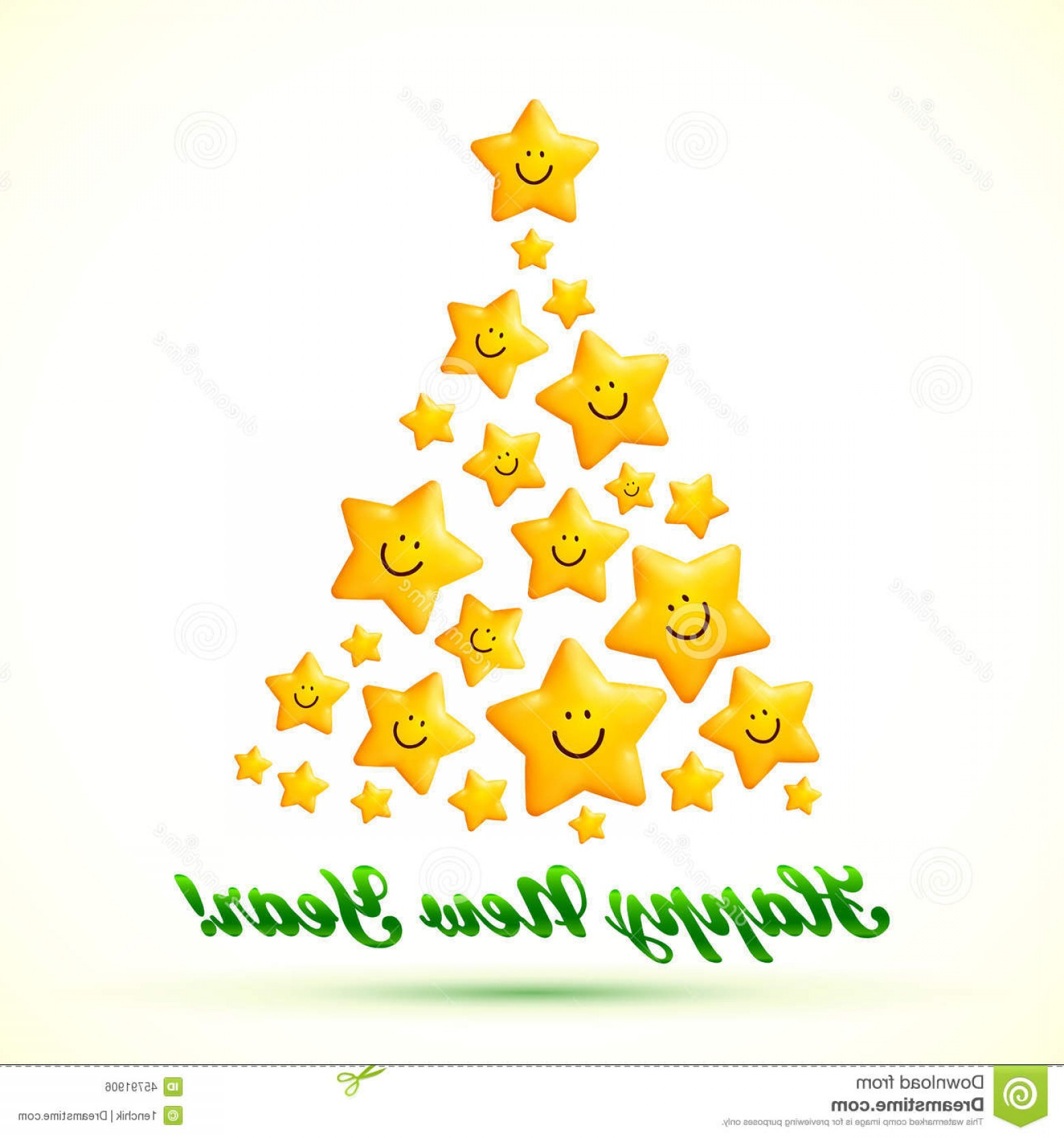 Stars Yellow Christmas Vector: Stock Illustration Christmas Tree Made Smiling Yellow Stars Vector Image