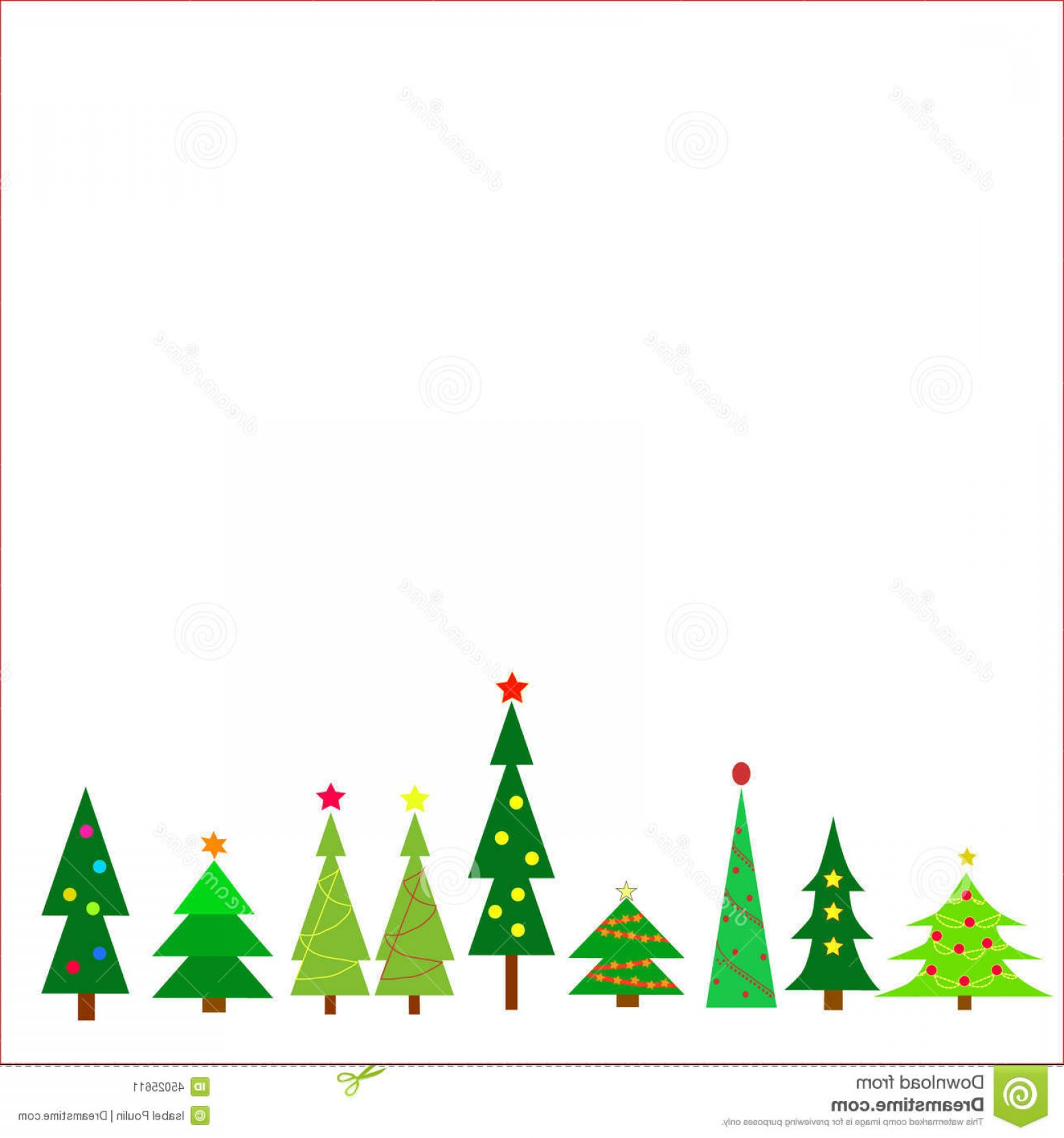 Christmas Tree Art Large Vector Format: Stock Illustration Christmas Trees Row Different White Background Eps Vector Format Image