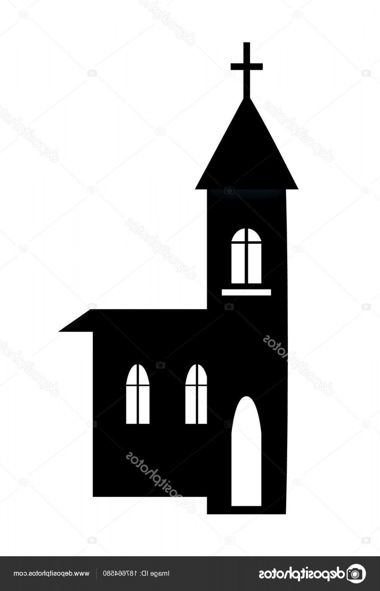 Church Silhouette Vector: Stock Illustration Church Building Silhouette Vector Illustration