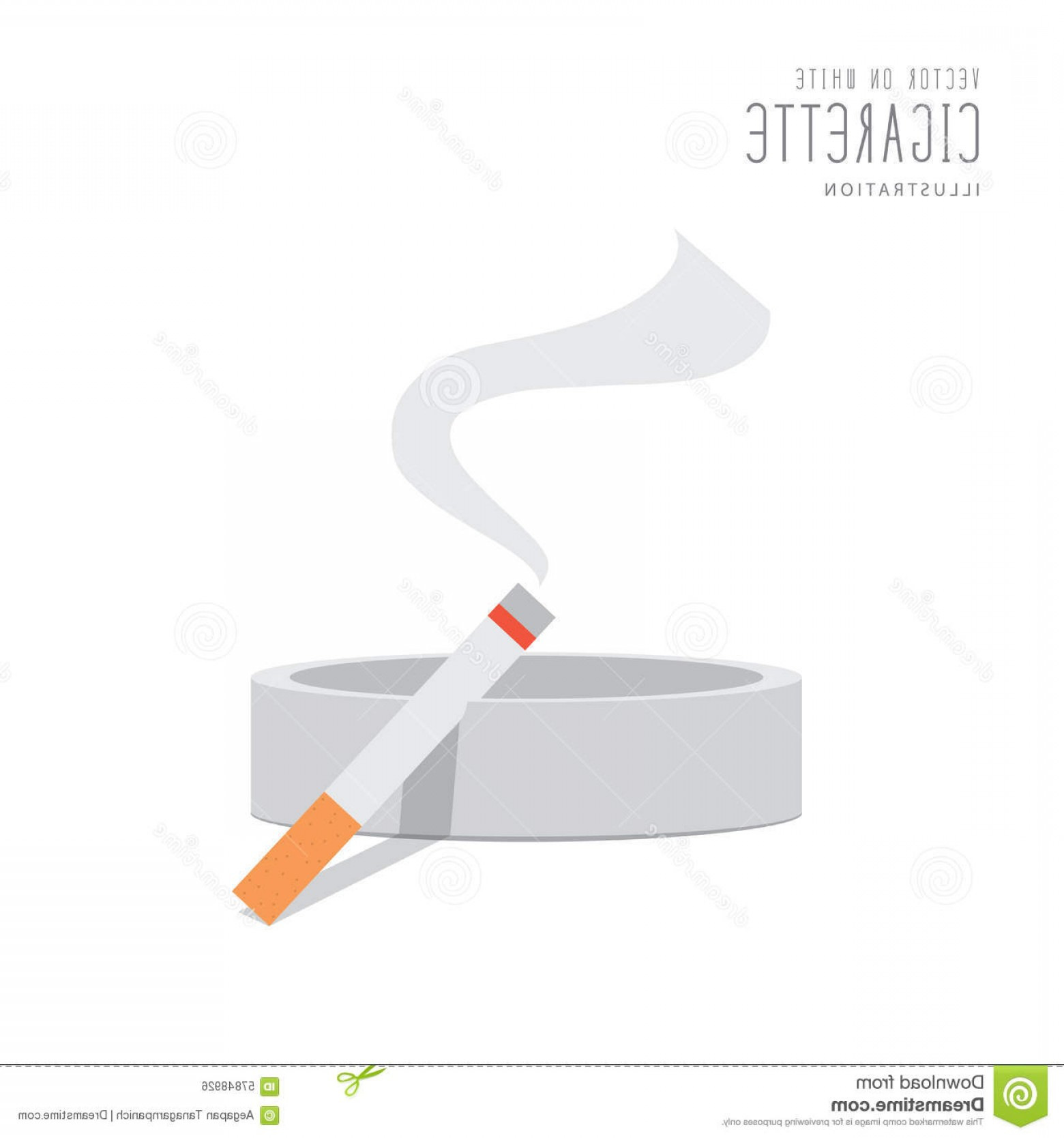 Loose- Leaf Tobacco Vector: Stock Illustration Cigarette Ashtray Flat Vector Illustration Style Image