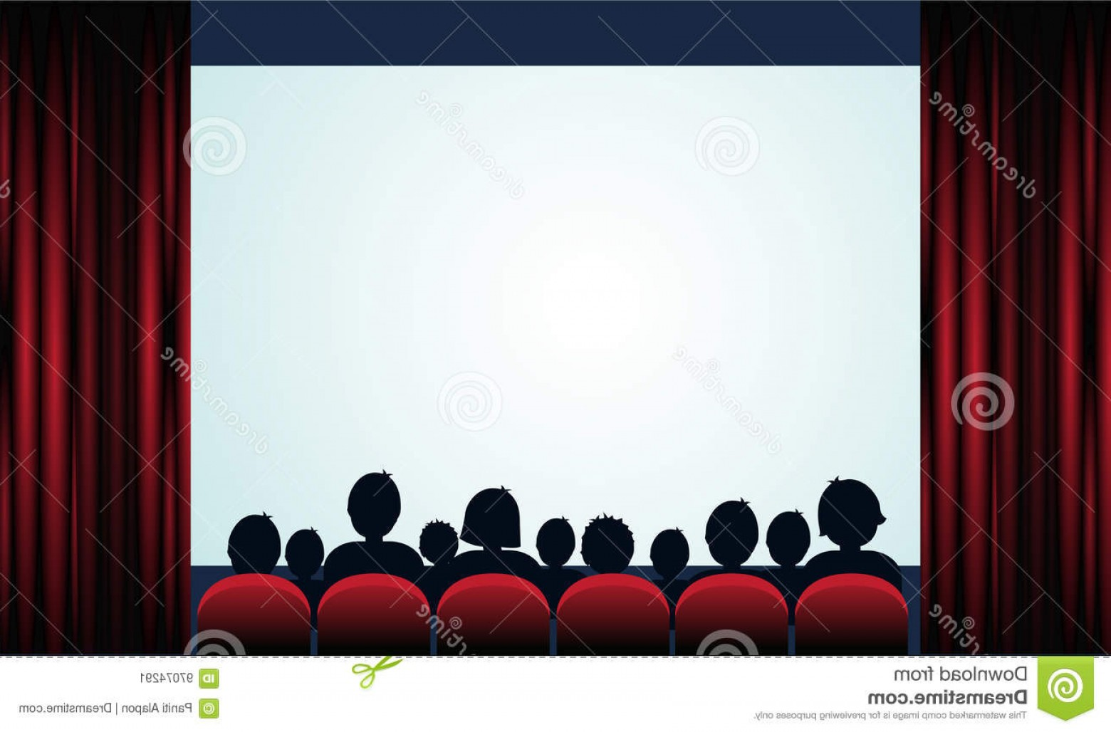 Vector Stage Audience: Stock Illustration Cinema Poster Audience Screen Red Curtains Vector Illustration Image