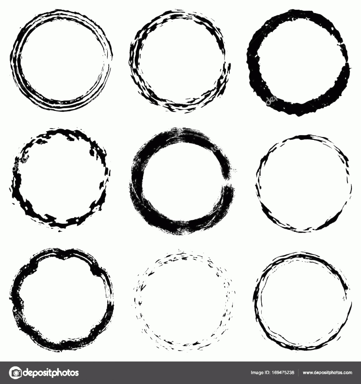 Distressed Border Circle Vector: Stock Illustration Circular Frame Textures Set