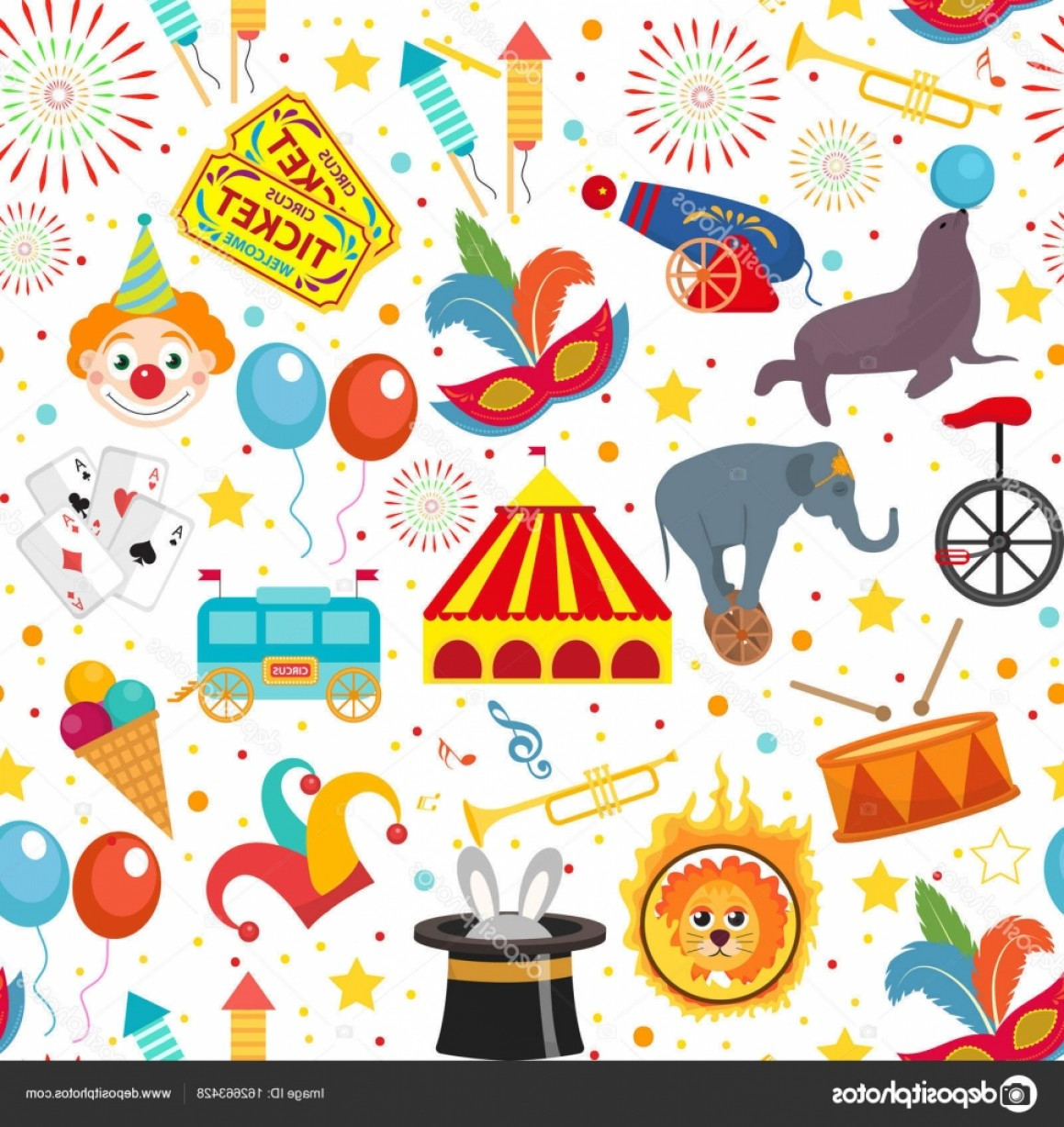Circus Background Vector: Stock Illustration Circus Seamless Pattern Holiday Carnival