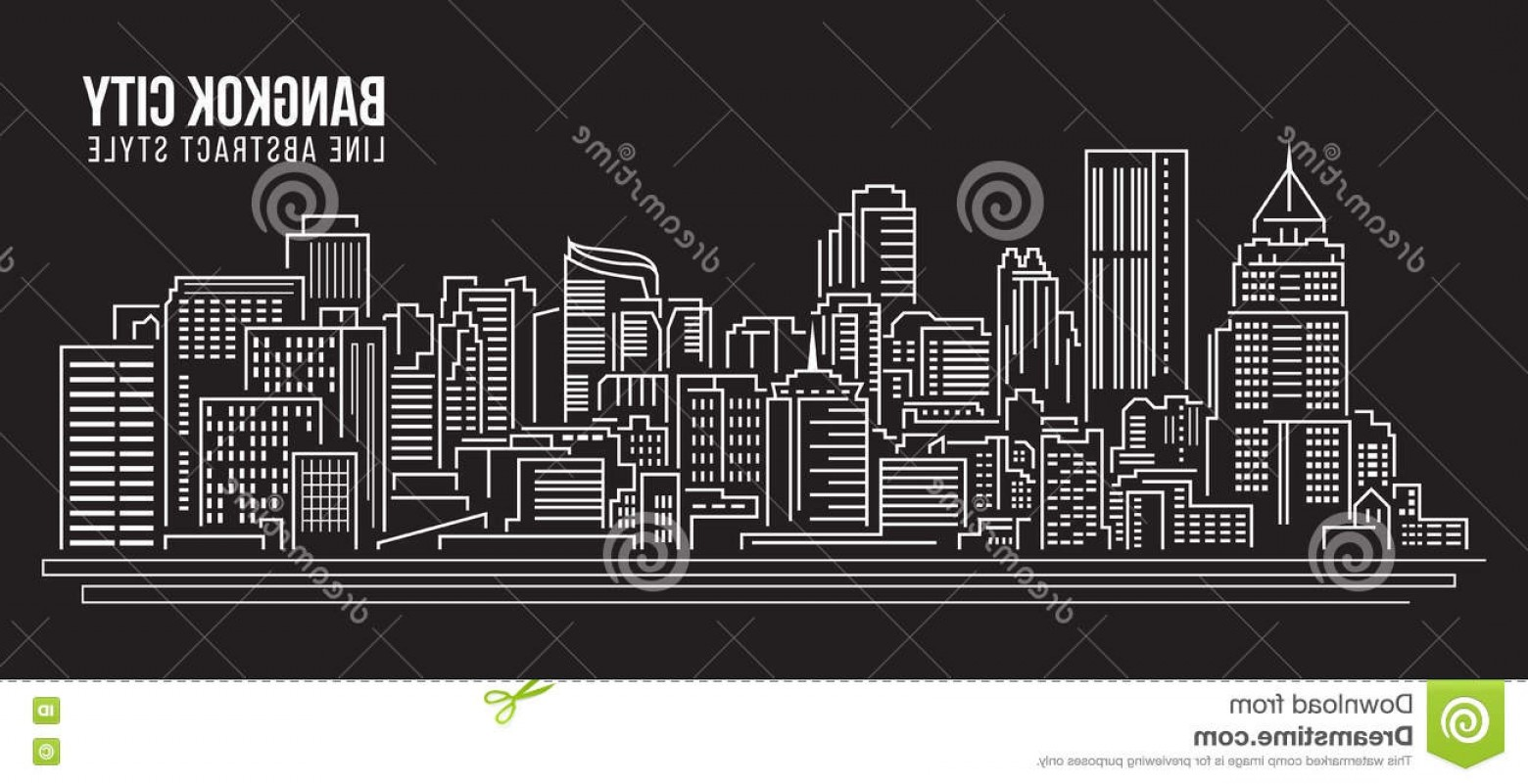City Building Vector Free Download: Stock Illustration Cityscape Building Line Art Vector Illustration Design Bangkok City Image