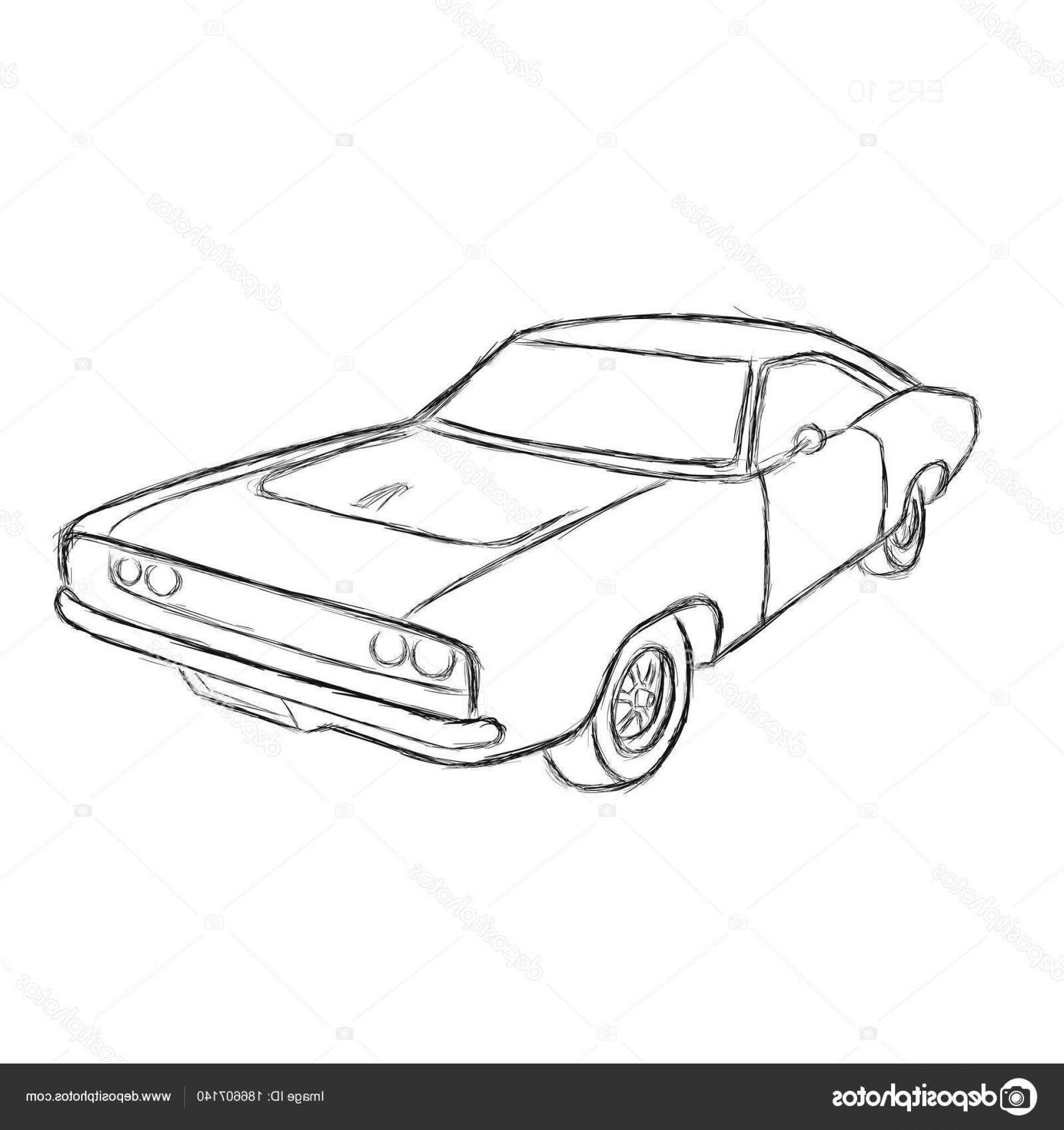 Muscle Car Silhouette Vector High Res: Stock Illustration Classic American Muscle Car Hand