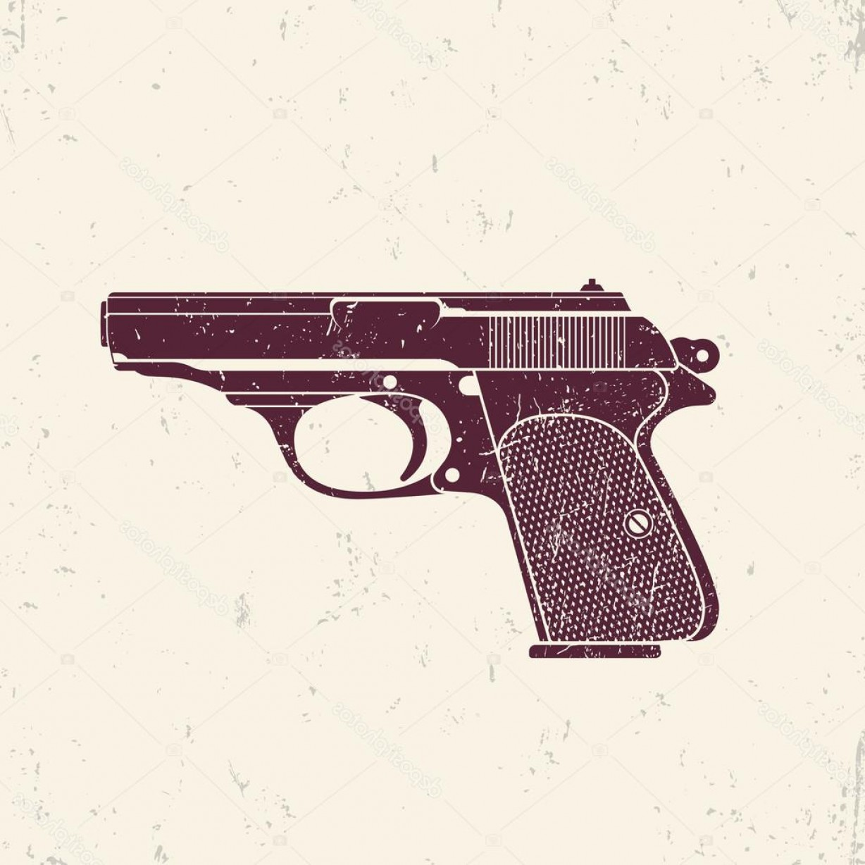 Old School Airplane Fighter Silhouette Vector: Stock Illustration Classic Pistol Old Handgun Silhouette