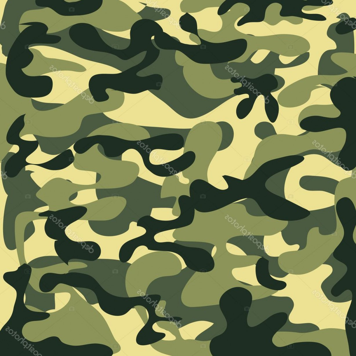 Army Camouflage Pattern Vector: Stock Illustration Classic Seamless Military Camouflage Pattern