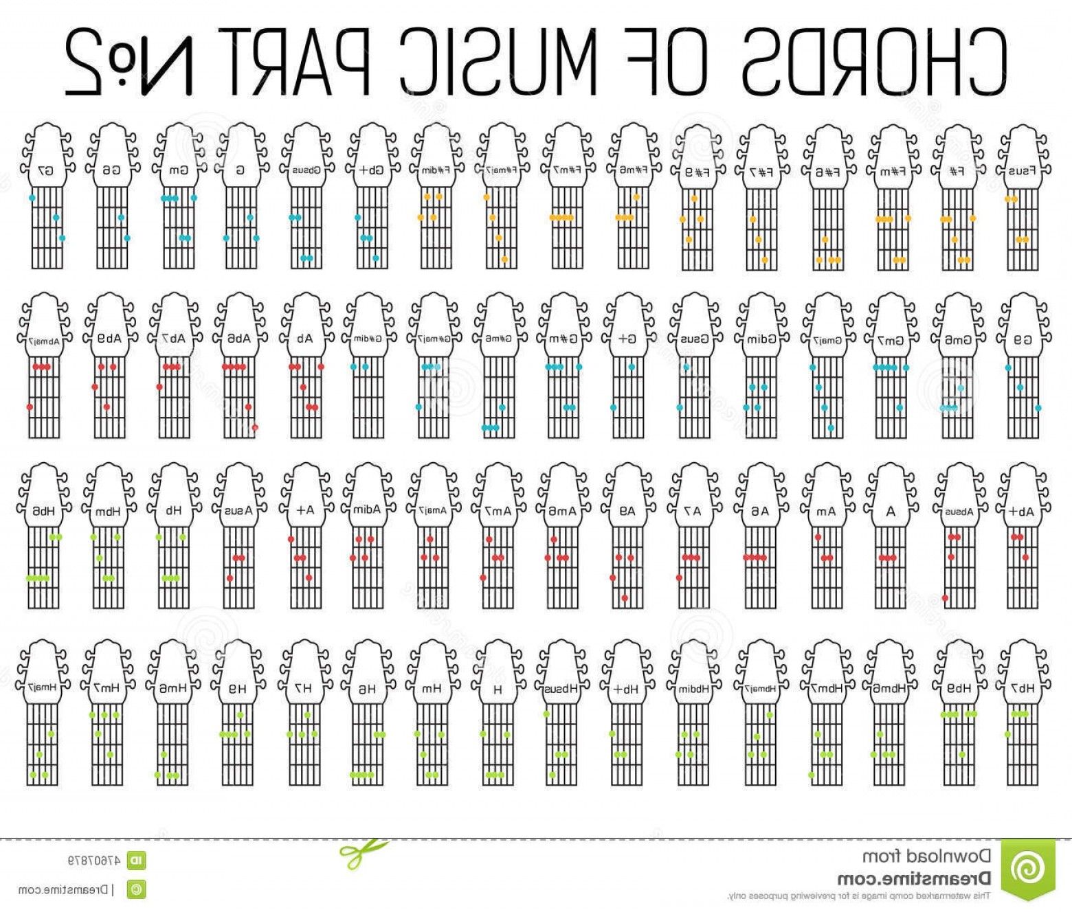 When Two Vectors Are Parallel: Stock Illustration Classical Basic Guitar Chords Graphic Music Set Illustration Part Two Vector Background Design Image
