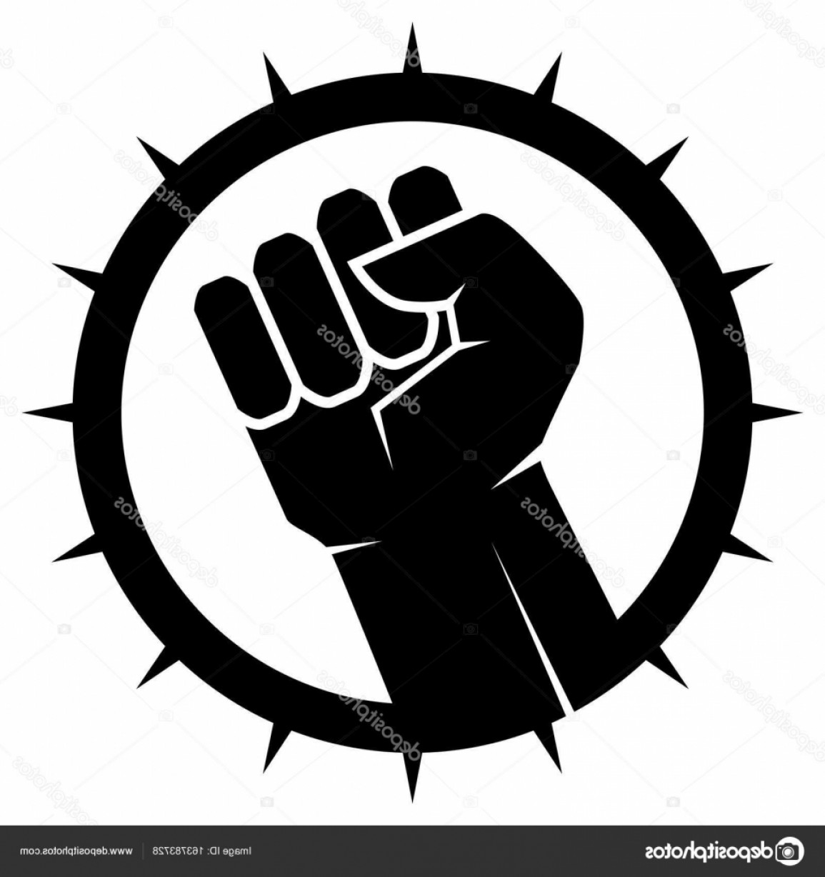 Black Power Fist Vector: Stock Illustration Clenched Fist Vector Fist Icon