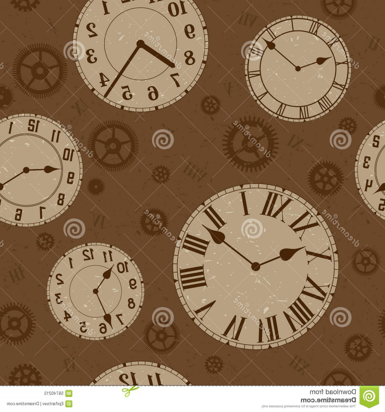 Watch Gears Vector: Stock Illustration Clocks Gears Vector Distressed Seamless Pattern Sepia Colors Image