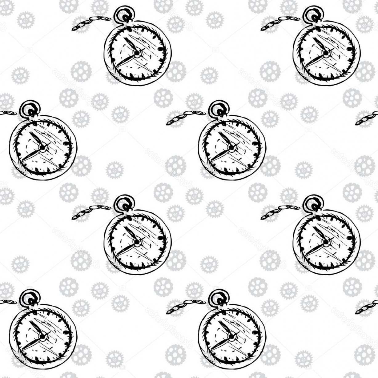 Watch Gears Vector: Stock Illustration Clocks Seamless Pattern With Pocket