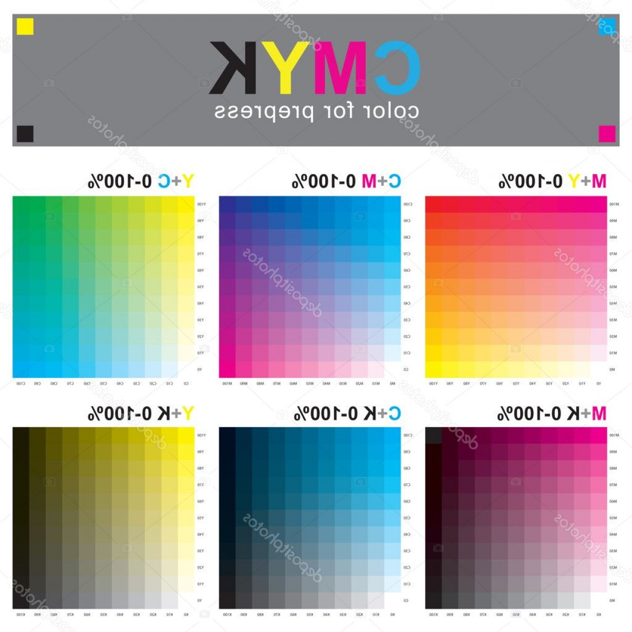 Color CMYK Chart Vector Free: Stock Illustration Cmyk Color Swatch Chart Subtractive