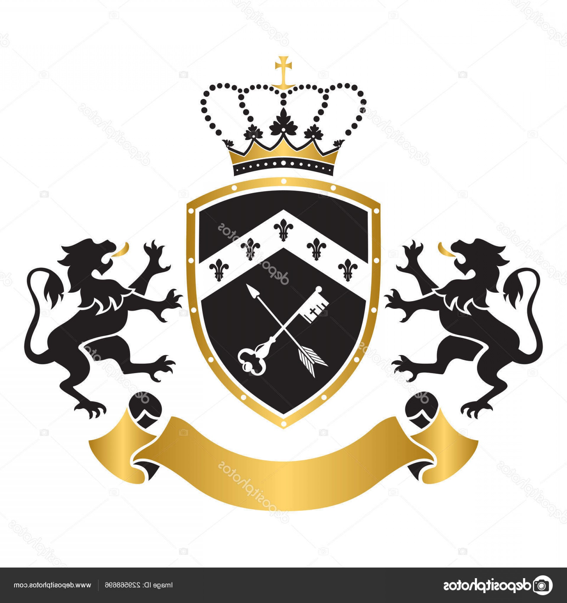Standing Lions Crest Vector: Stock Illustration Coat Arms Shield Crown Key