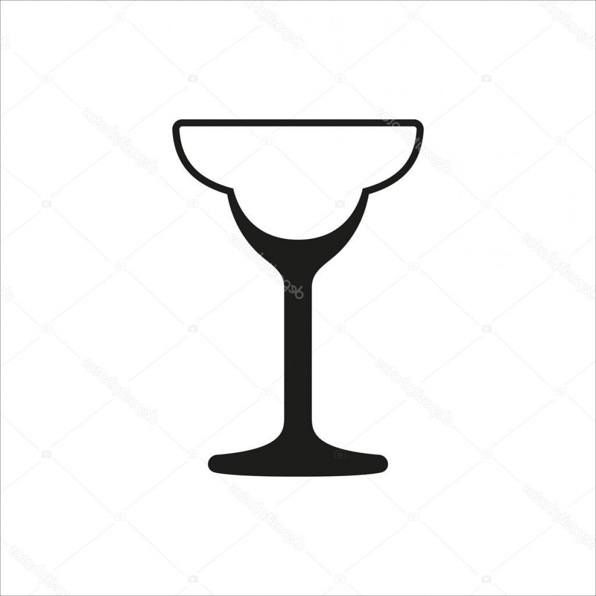 Cocktail Glasses Vector Art Decor: Stock Illustration Cocktail Glass Icon In Simple