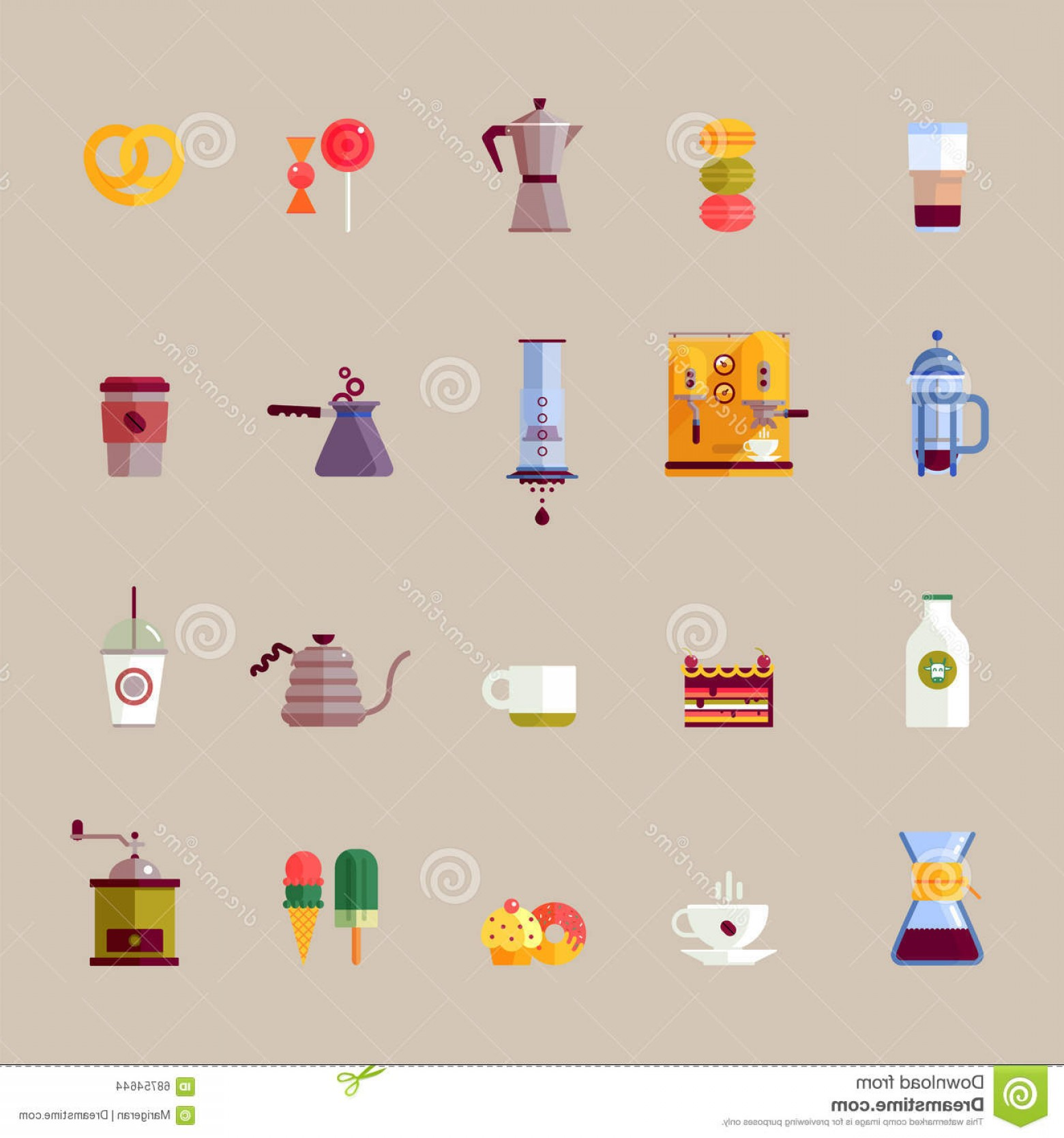 Vector Maker: Stock Illustration Coffee Maker Vector Colorful Flat Icons Set Modern Icons Shop French Press Aeropress Chemex Illustration Image