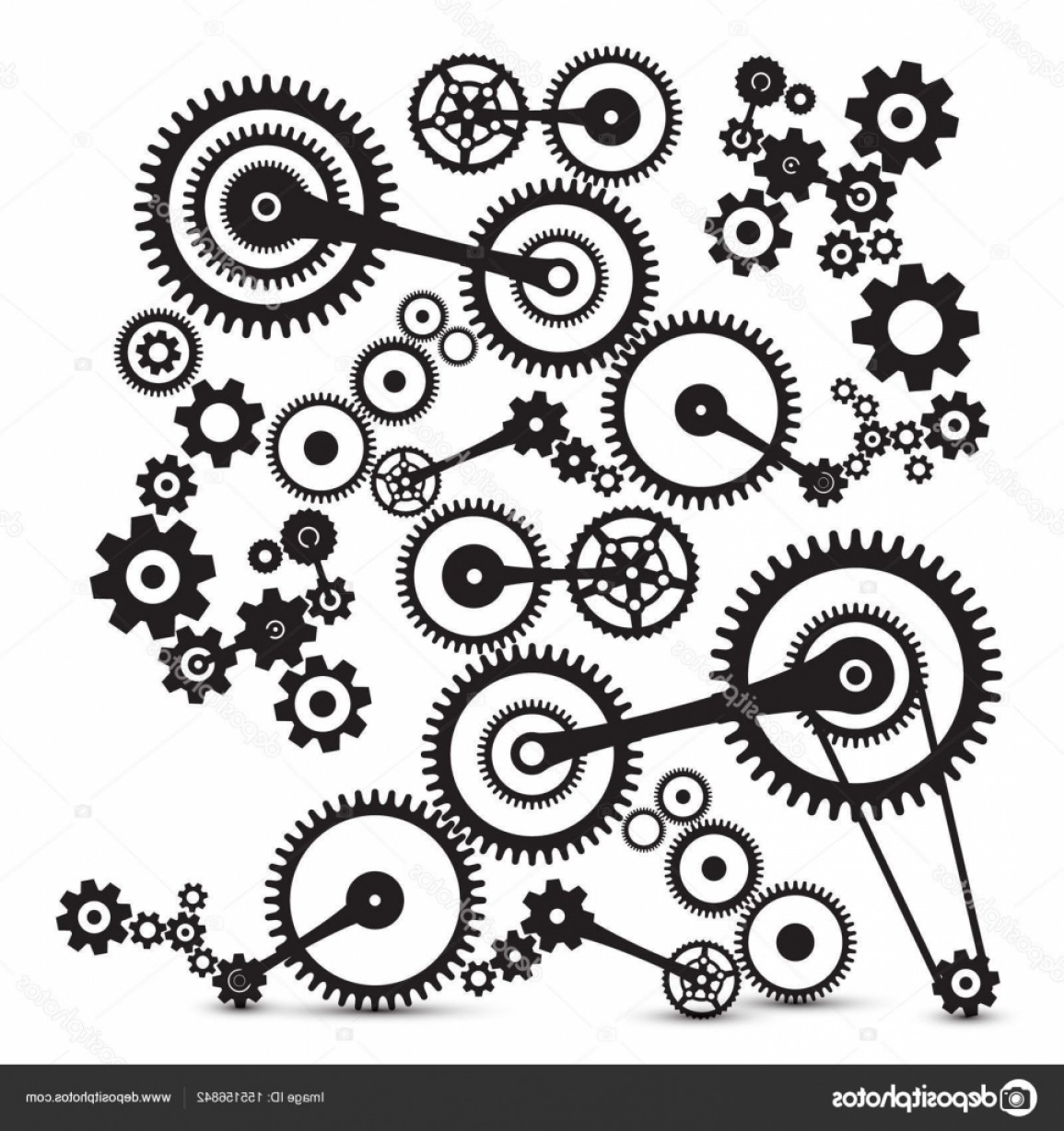 Watch Gears Vector: Stock Illustration Cogs Gears Retro Machinery Vector