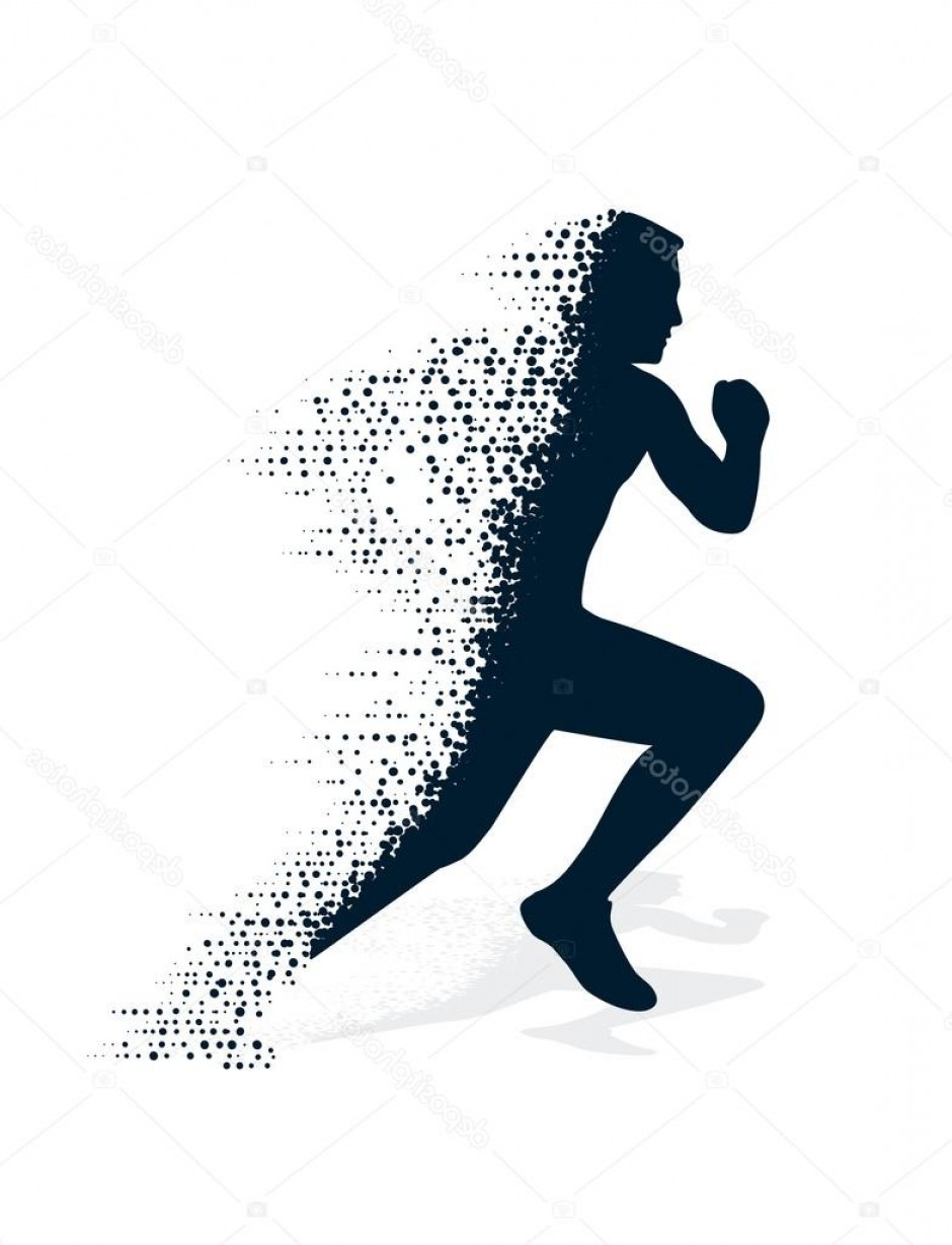 Athlete Vectors: Stock Illustration Collapsing Silhouette Of The Running