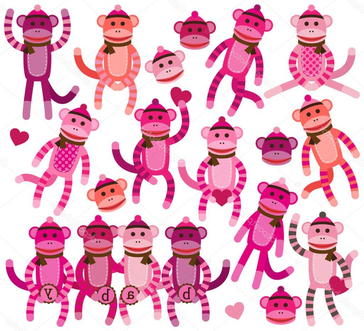 Sitting Monkey Vector Baby Shower: Stock Illustration Collection Of Girly Themed Sock