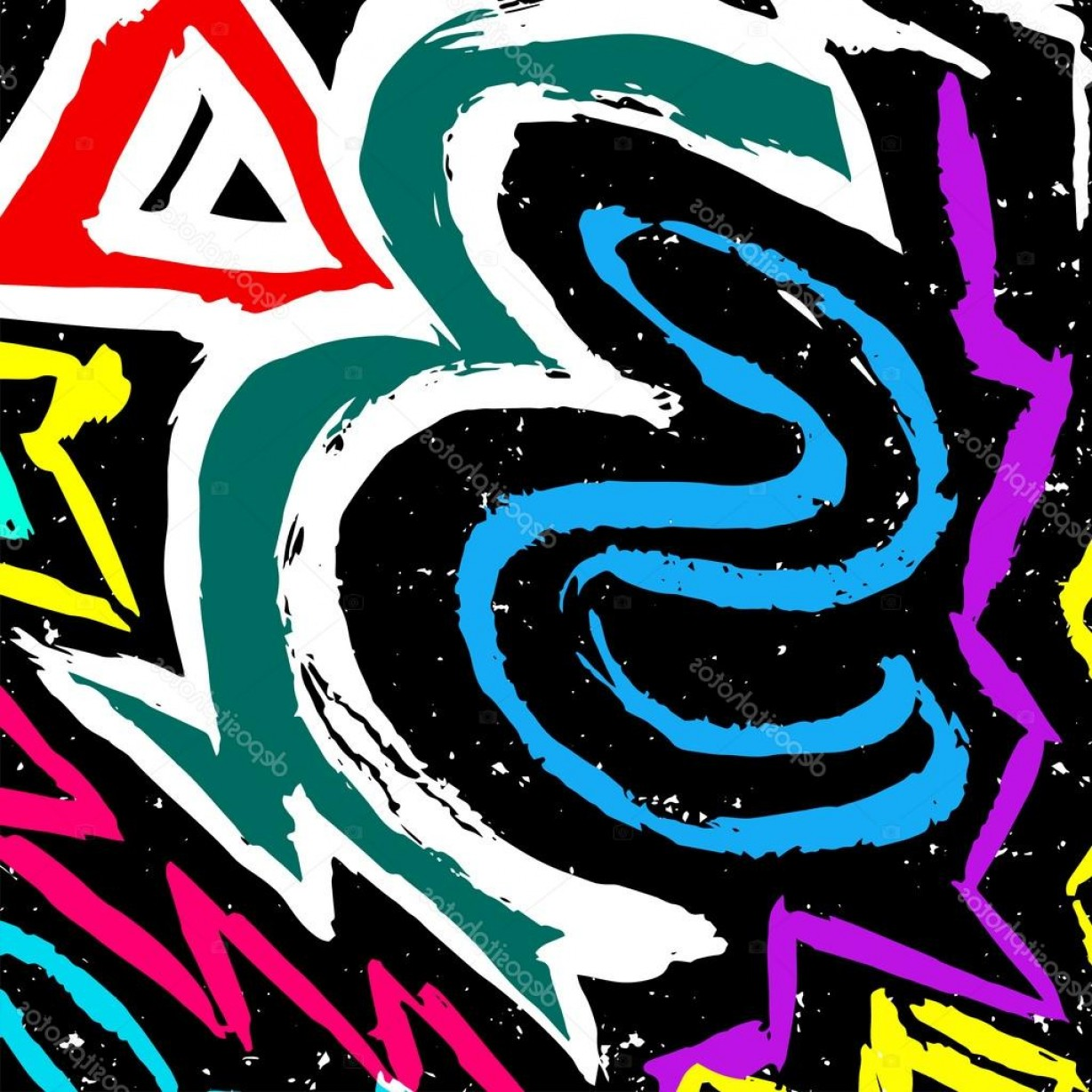 Graffiti Lines Vector: Stock Illustration Color Graffiti Lines On A