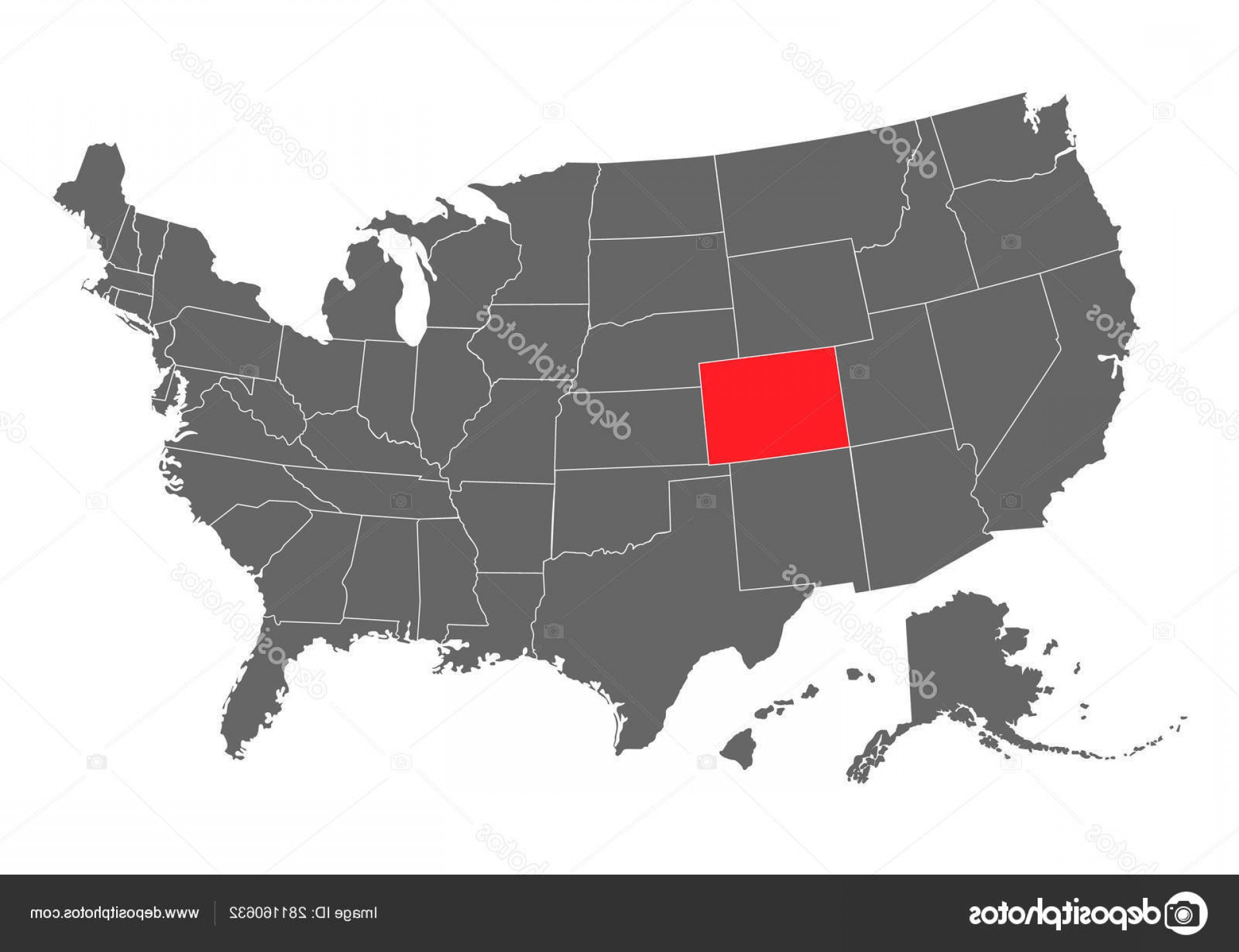 Colorado State Vector Maps: Stock Illustration Colorado Vector Map Silhouette High