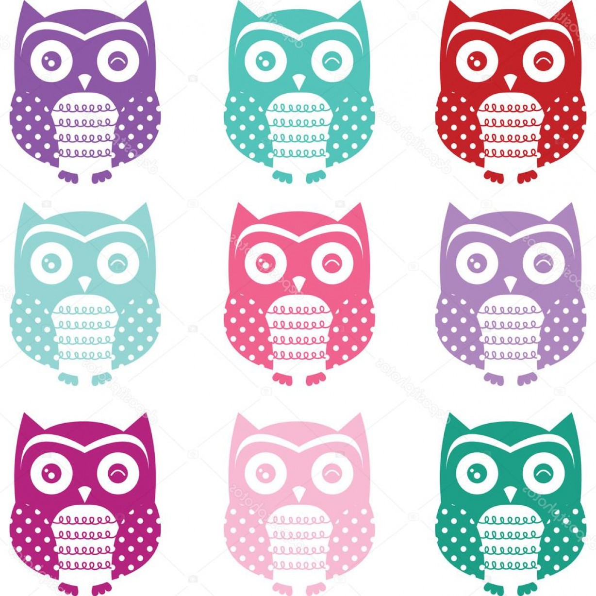 Owl Silhouette Vector Art: Stock Illustration Colorful Cute Owl Silhouette Collections