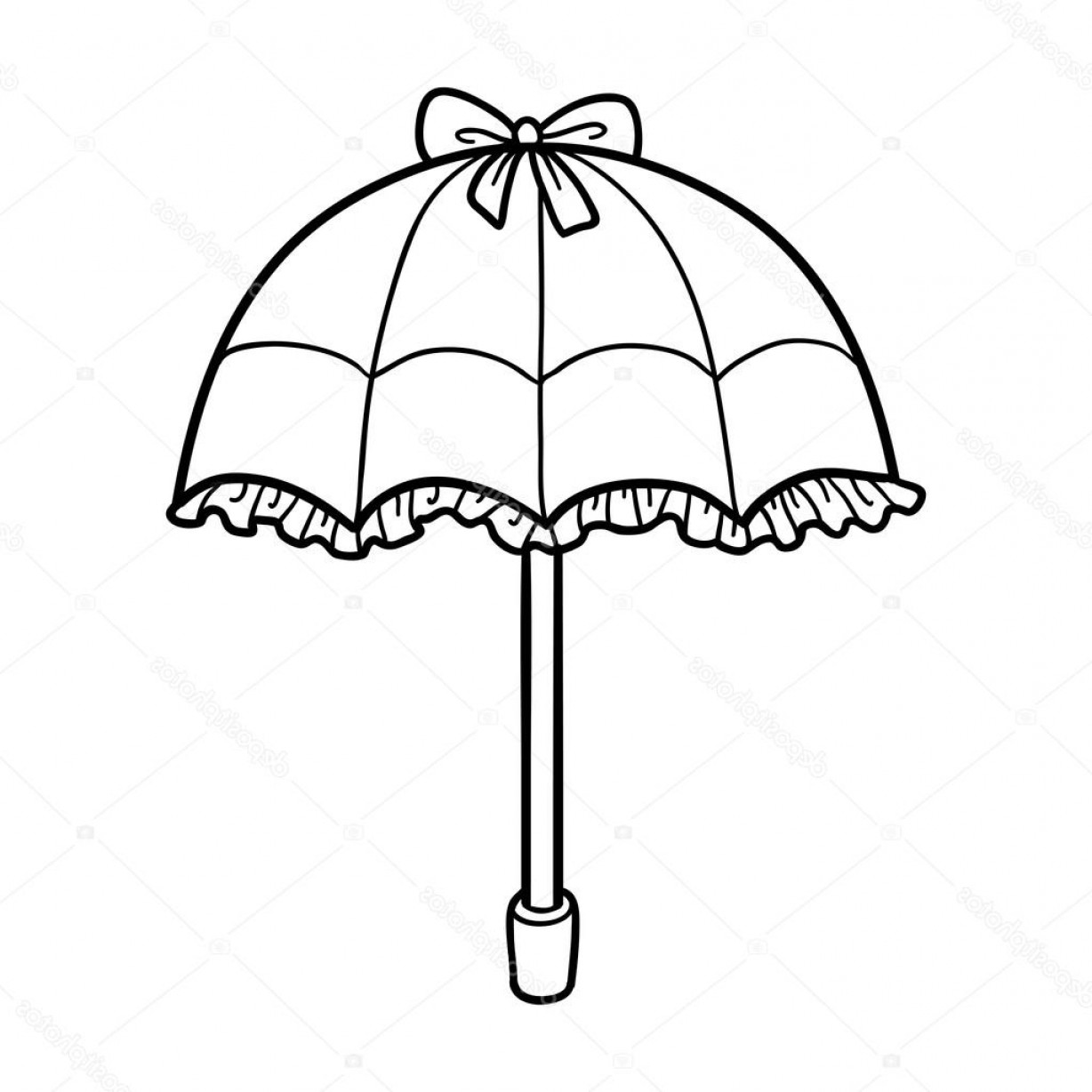 Umbrella Vector Black: Stock Illustration Coloring Book For Children Umbrella