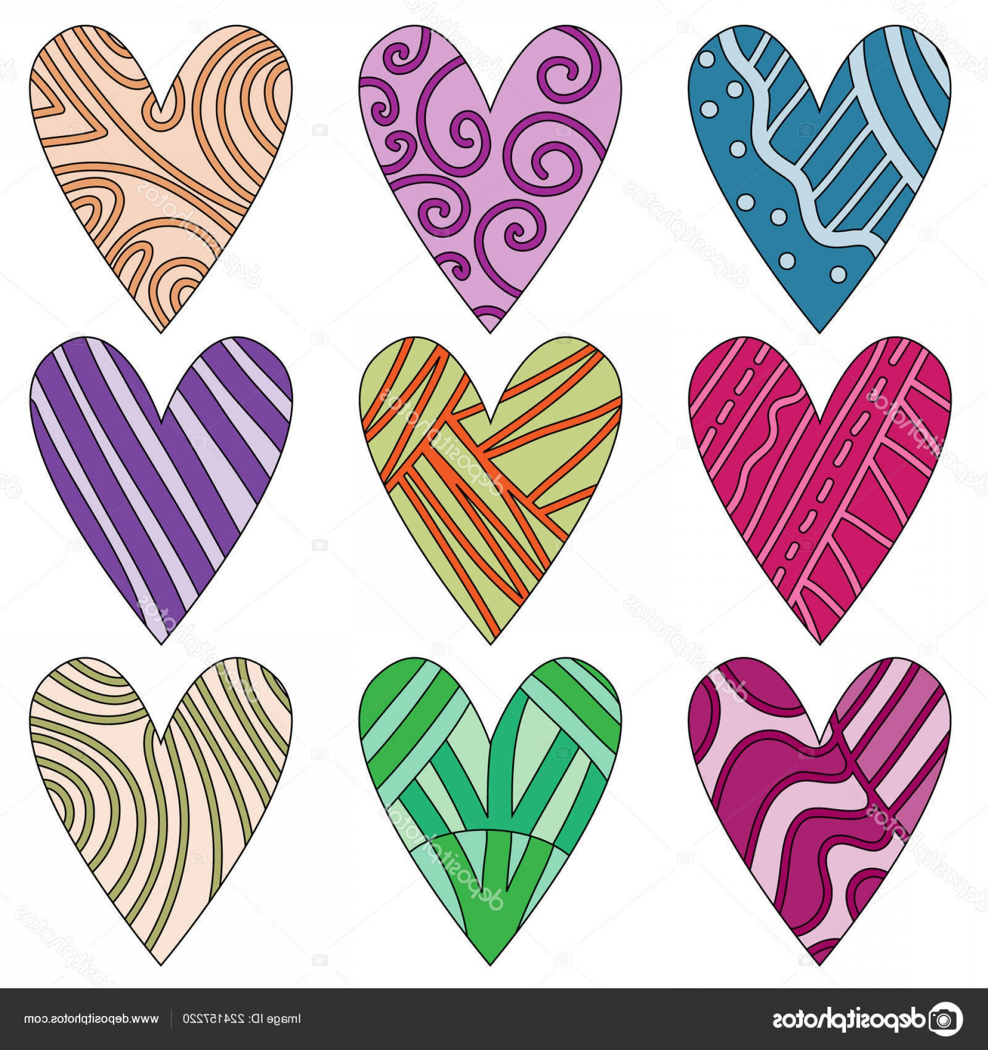 Cool Vector Hearts Pattern Symbol Pattern: Stock Illustration Colourful Hearts Pattern Symbols Isolated