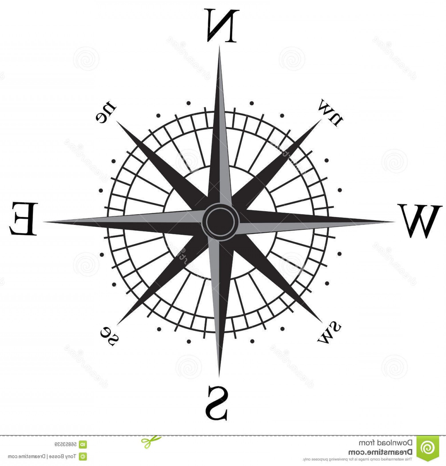 Simple Compass Vector Black And White: Stock Illustration Compass Rose Simple Black Silver Vector Isolated White File Also Available Illustrator Ai File Image