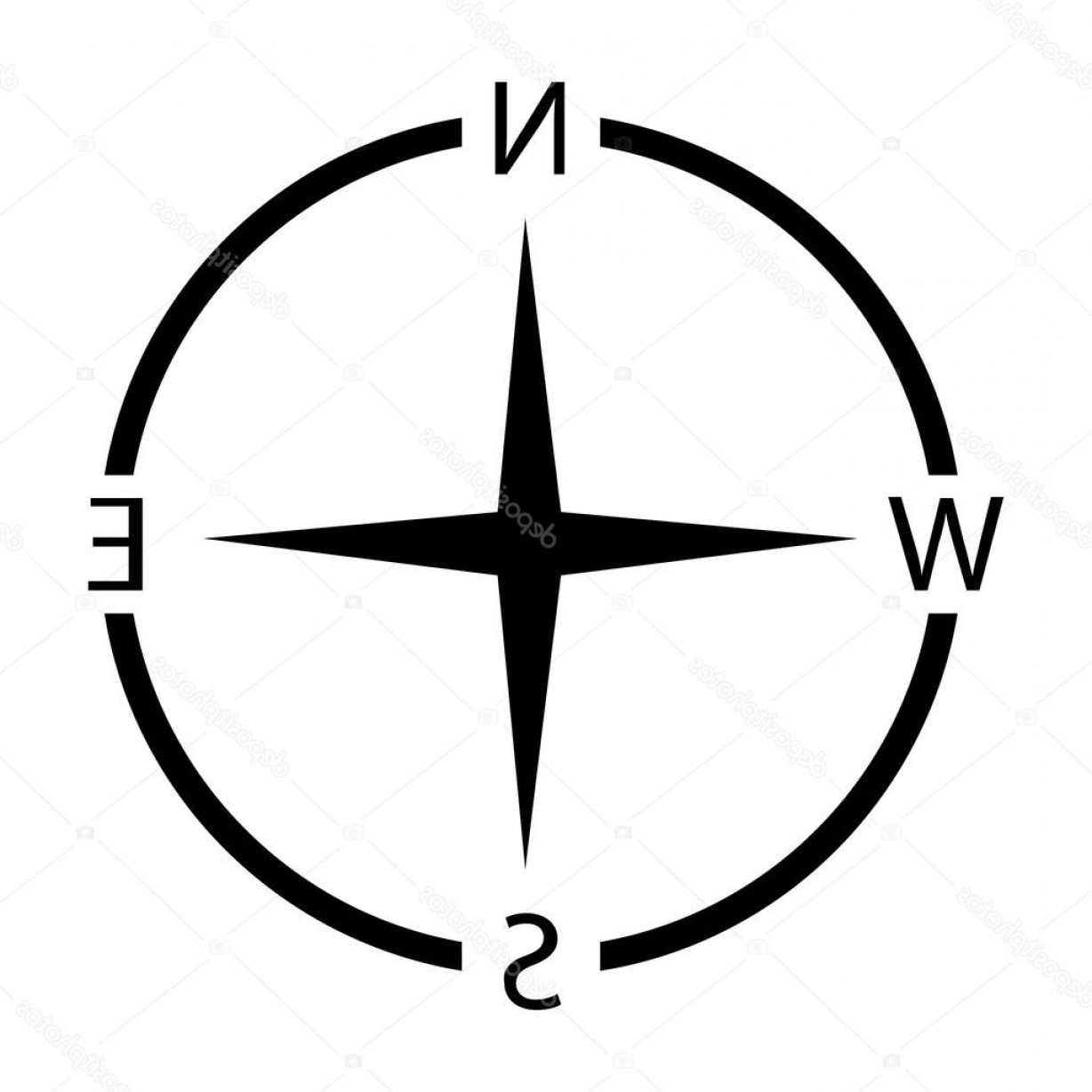 Simple Compass Vector Black And White: Stock Illustration Compass Vector Png Icons