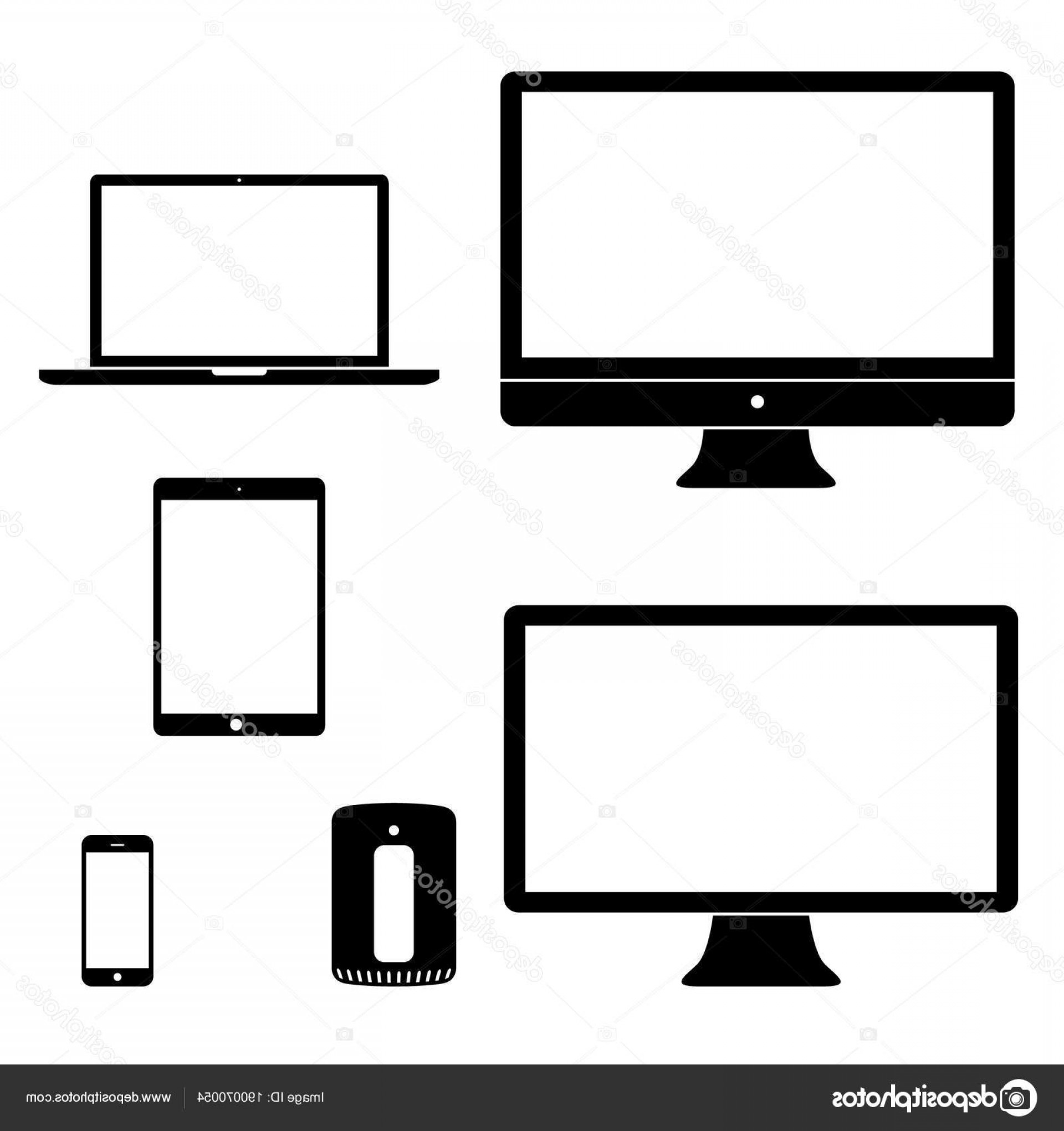 Vector Monitors Mac: Stock Illustration Computer Device Icons Black White