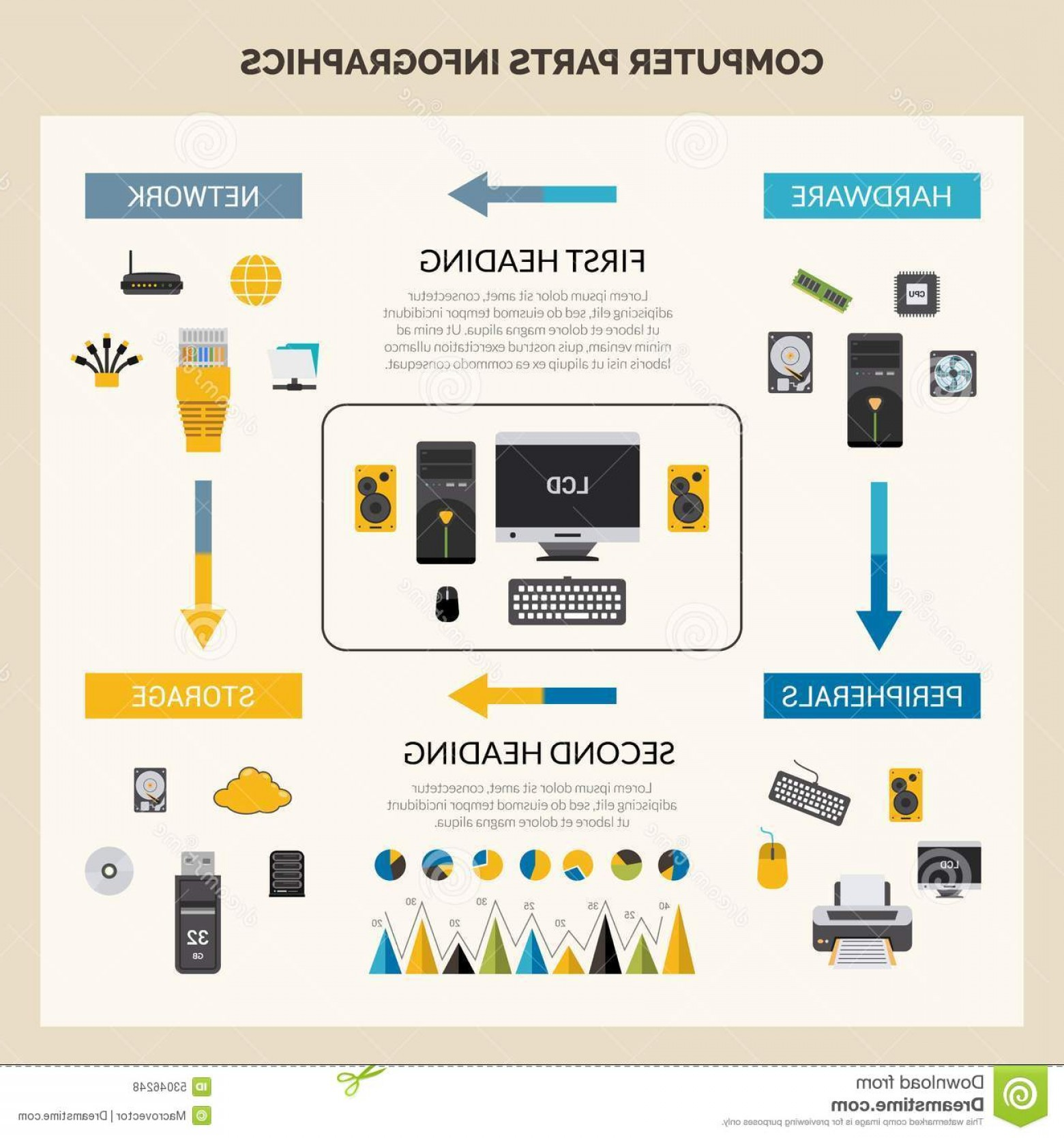 Vector Travel Cooler Parts: Stock Illustration Computer Parts Infographic Set Hardware Processor Peripherals Symbols Vector Illustration Image