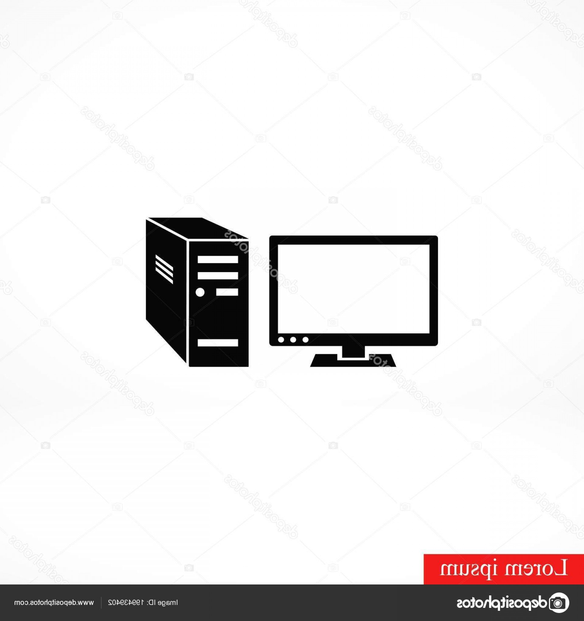 Computer Vector Icon Flat: Stock Illustration Computer Vector Icon Flat Design