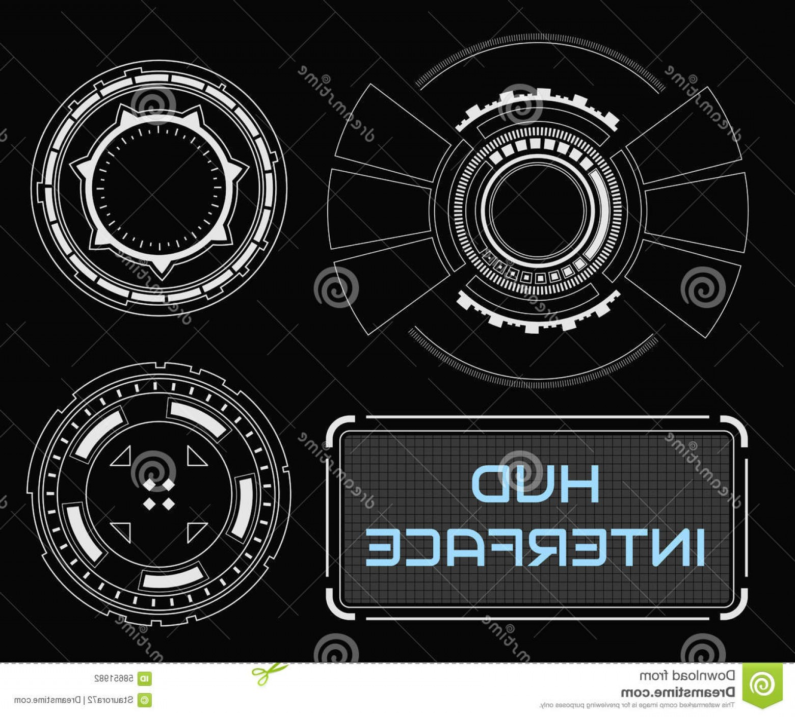 Futuristic Render Vector Graphics: Stock Illustration Concept Futuristic White Virtual Graphic Touch User Interface Abstract Future Vector Hud Hologram Image