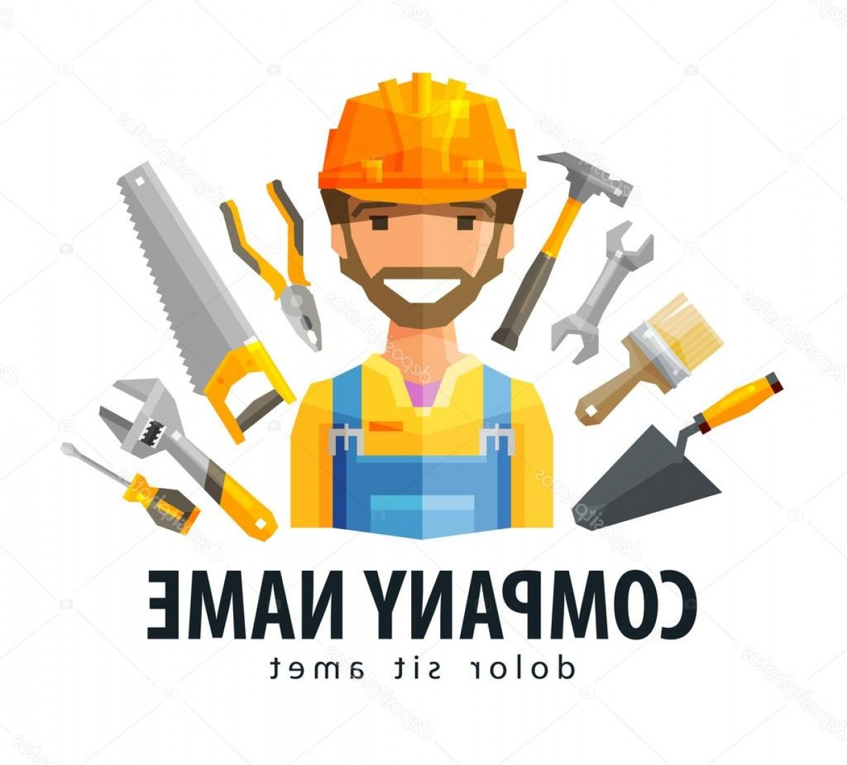 Vector Constructor: Stock Illustration Construction Worker Vector Logo Design