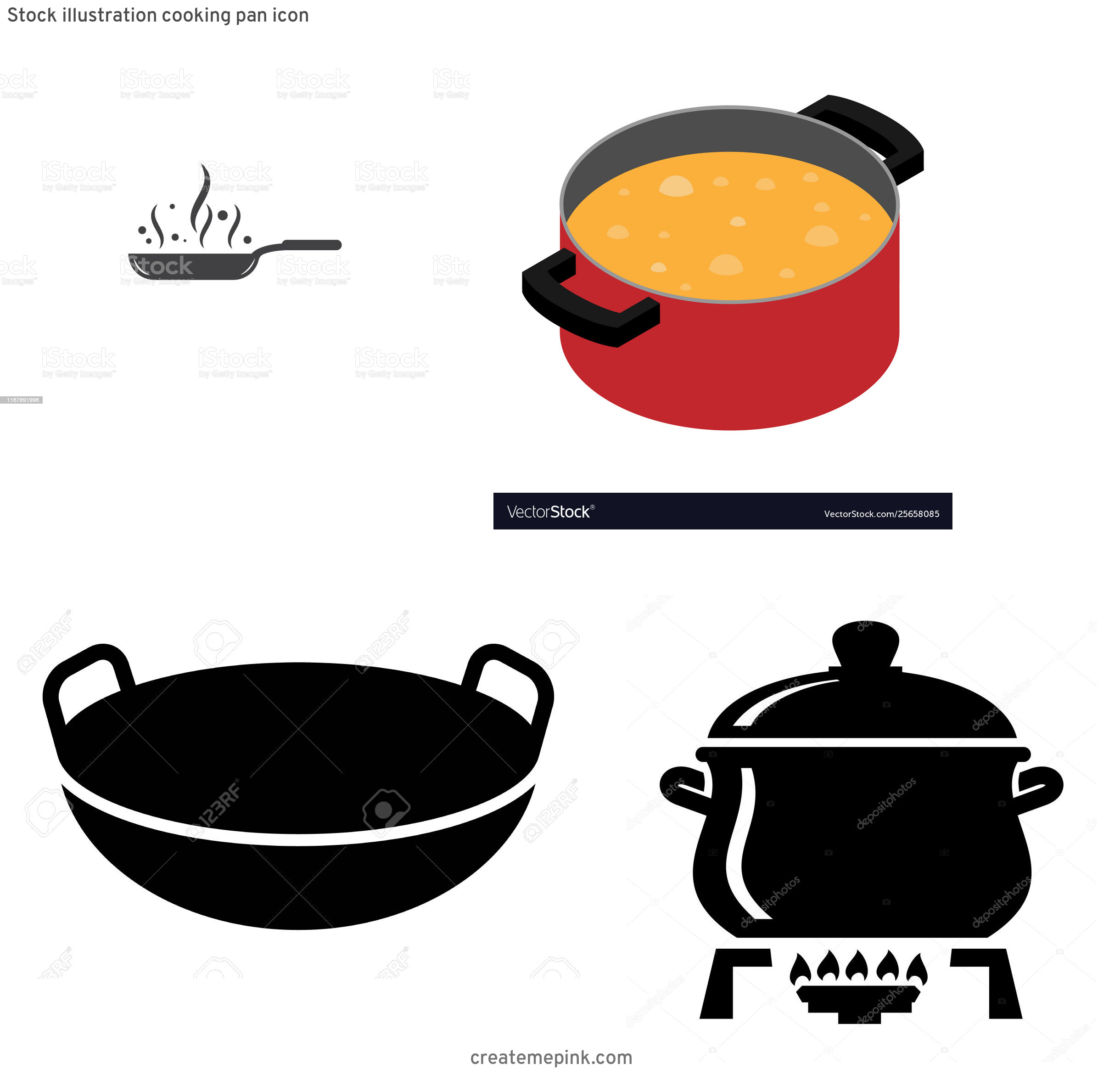 Cook Pot Vector: Stock Illustration Cooking Pan Icon