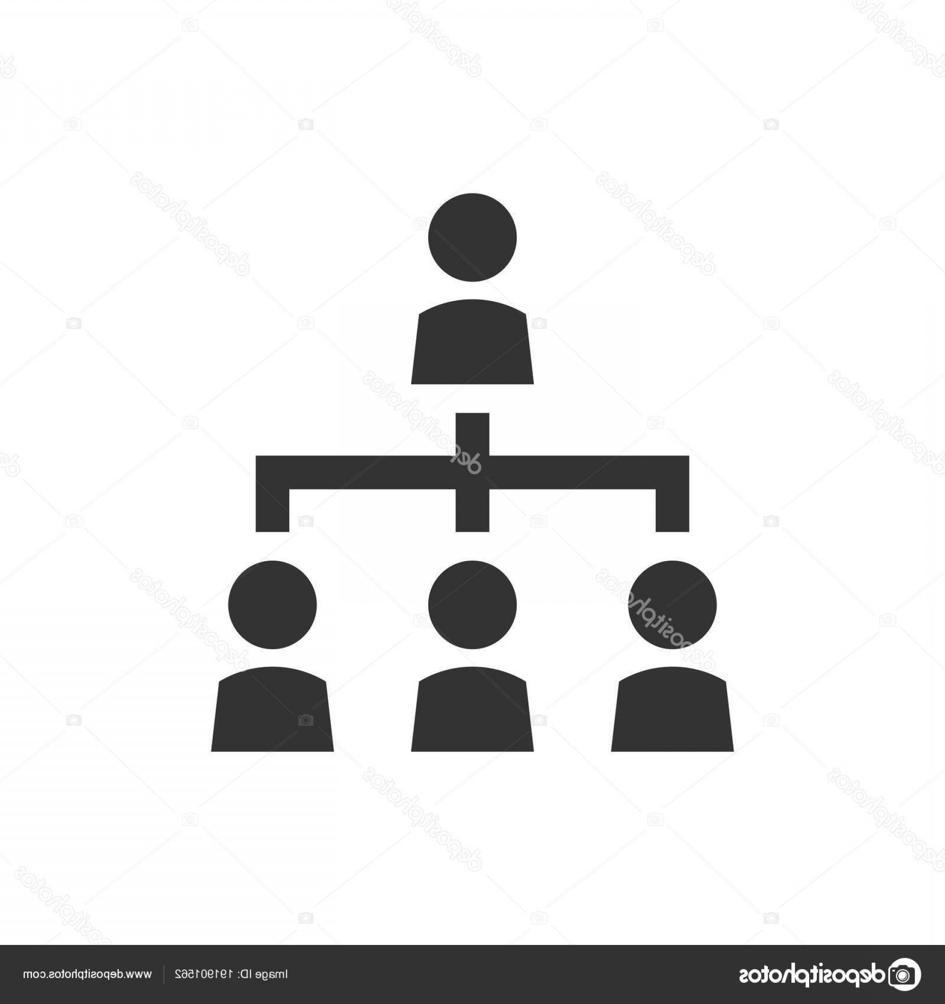 Vector Black And White Organization: Stock Illustration Corporate Organization Chart With Business