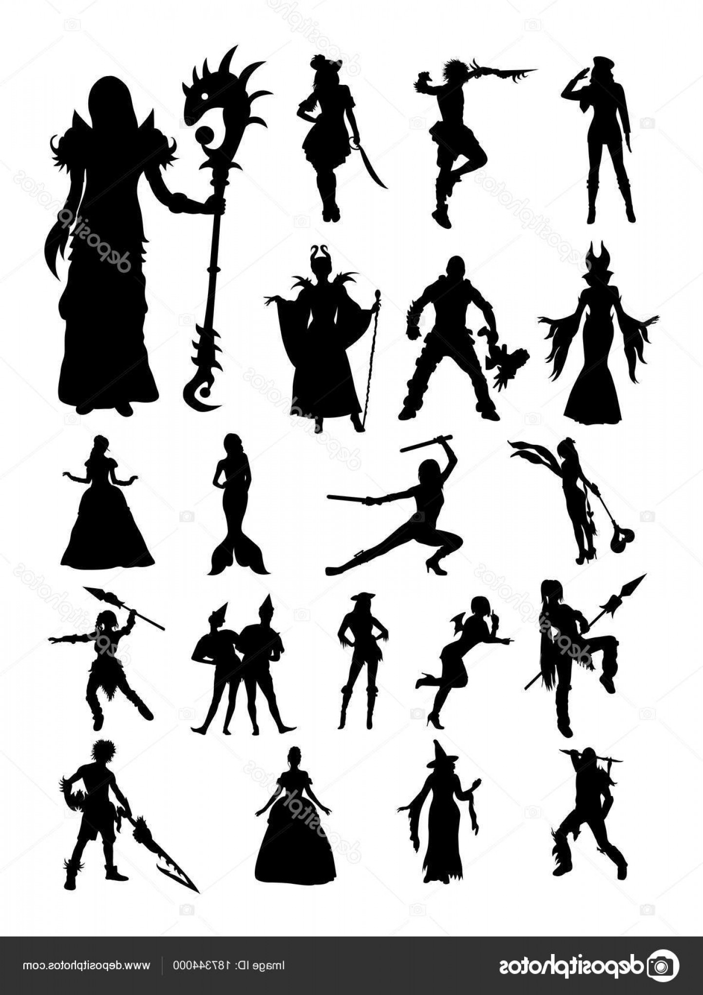 Vector Cosplay: Stock Illustration Cosplay Detail Silhouette Vector Illustration