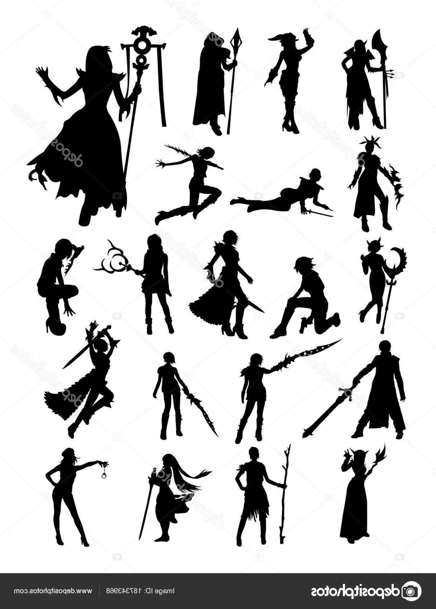 Vector Cosplay: Stock Illustration Cosplay Pose Detail Silhouette Vector