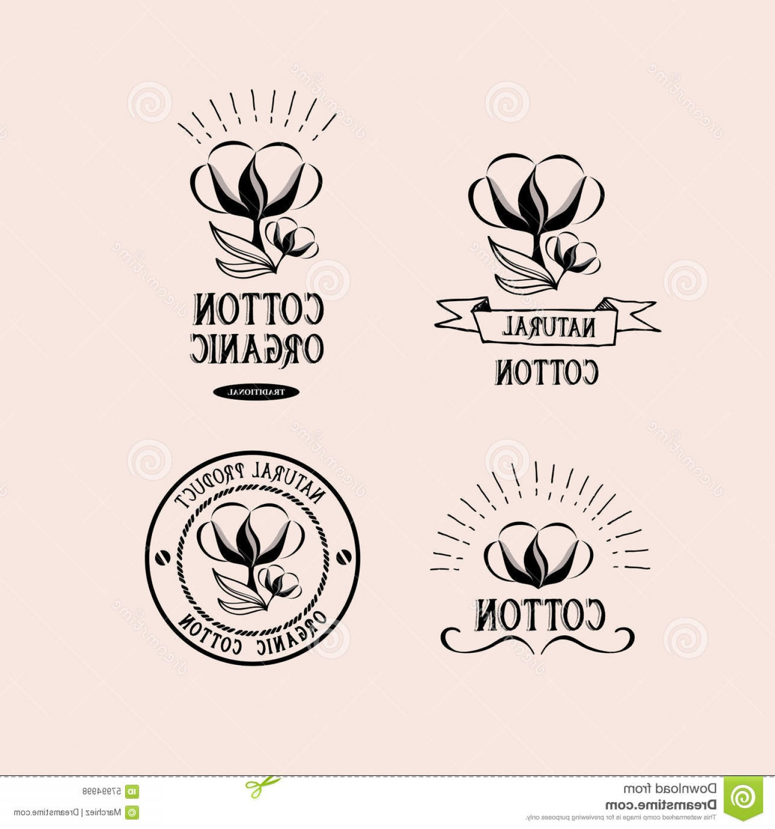 Cotton Vector Graphic: Stock Illustration Cotton Badges Design Organic Product Vector Graphic Elements Image