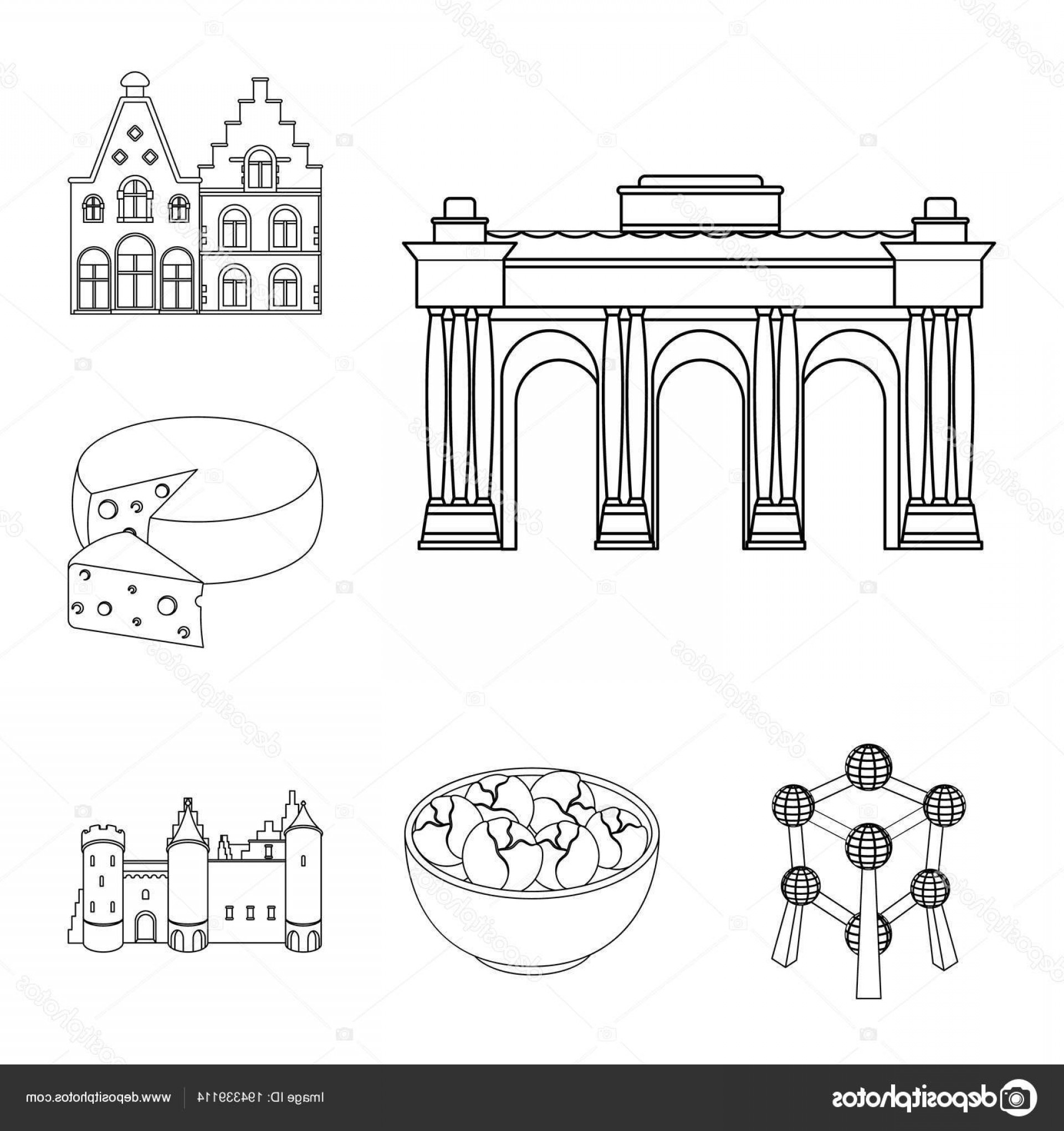 Belgium Theatre Vector Icons: Stock Illustration Country Belgium Outline Icons In