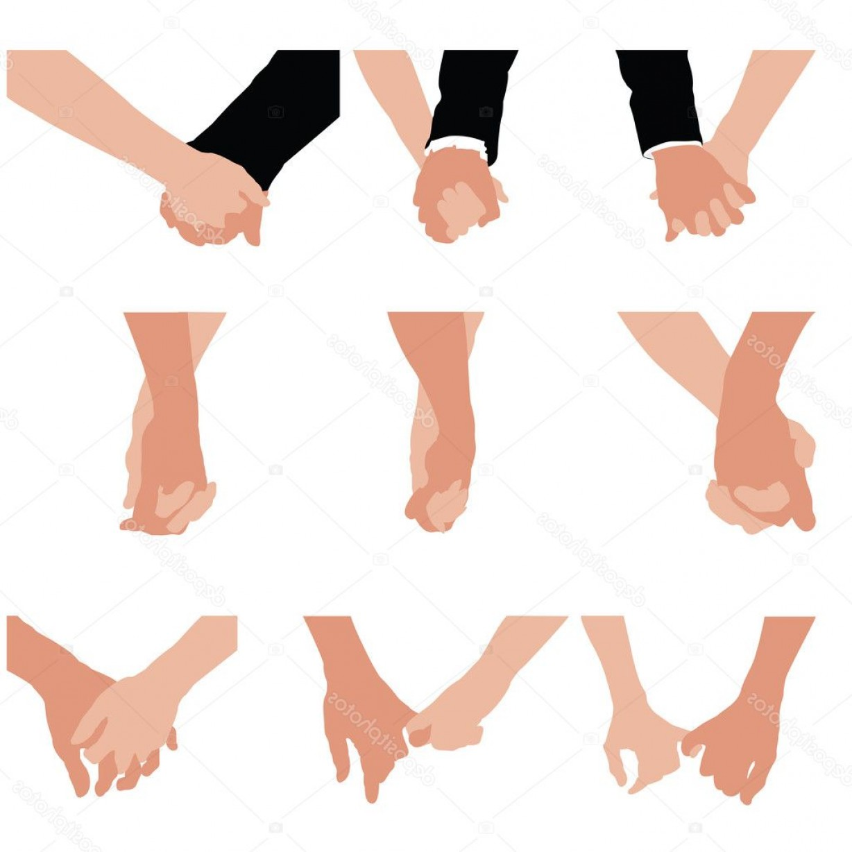 Hand Vector Clip Art: Stock Illustration Couples Holding Hands Vector