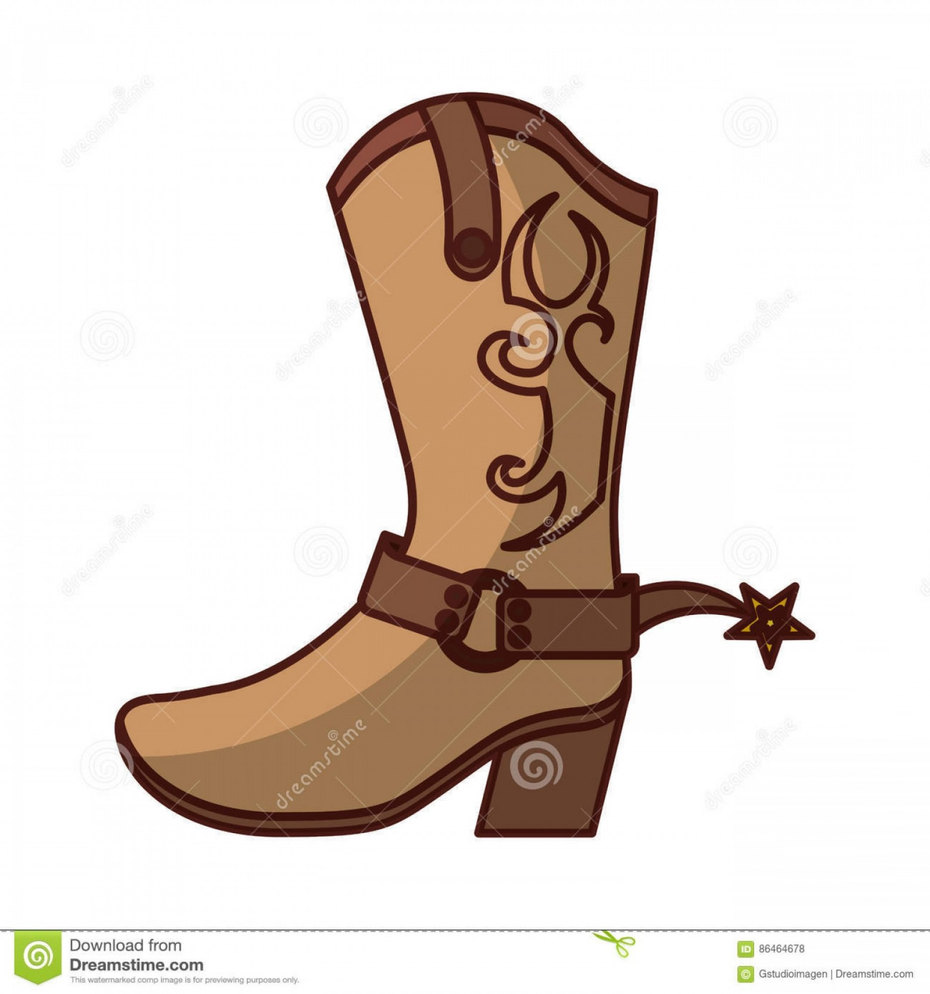 Two Cowgirl Boots Vector: Stock Illustration Cowboy Boot Shoe Icon Vector Illustration Design Image