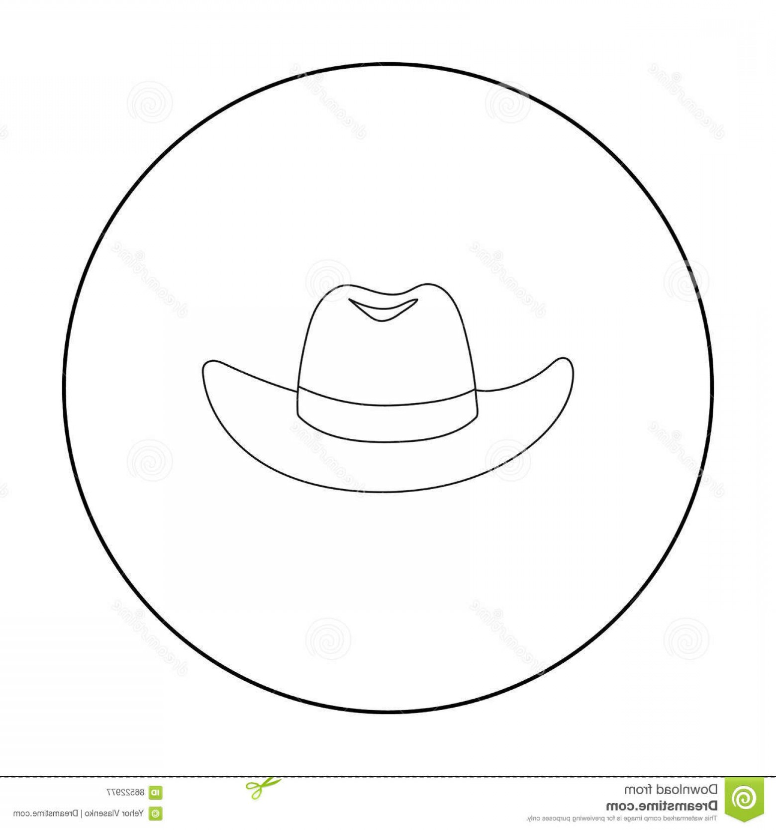 Sombrero Vector Outline: Stock Illustration Cowboy Hat Icon Outline Style Isolated White Background Hats Symbol Stock Vector Illustration Image