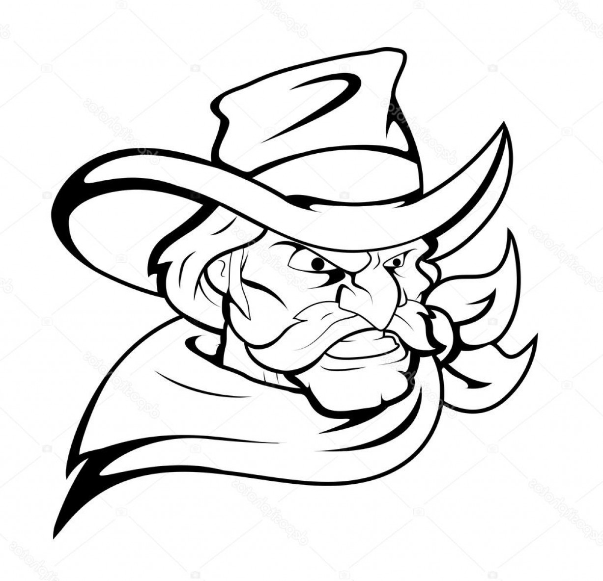 Cowboys Line Drawings Vector: Stock Illustration Cowboy Mascot Vector Character