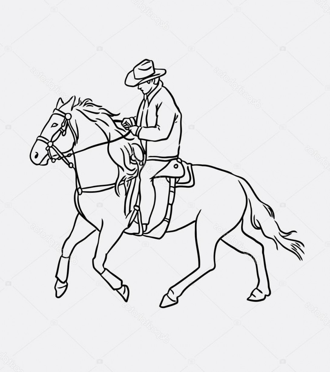 Cowboys Line Drawings Vector: Stock Illustration Cowboy Riding Horse Line Art