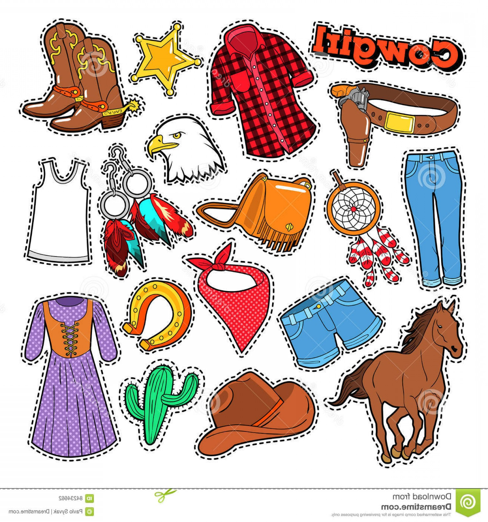 Spurs Clip Art Vector: Stock Illustration Cowgirl Doodle Scrapbook Stickers Patches Badges Horse Spurs Vector Illustration Image